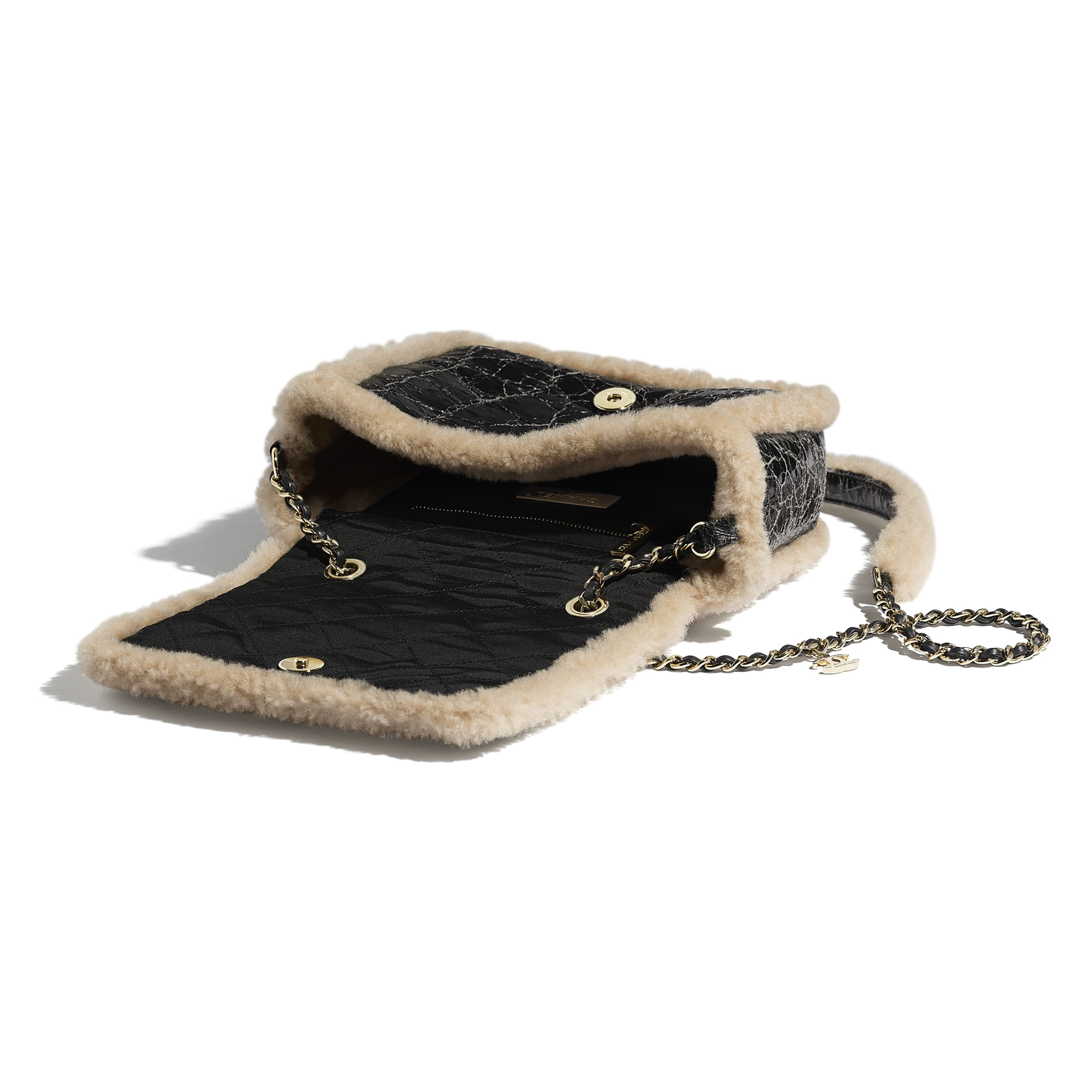 Flap Bag - Black & Beige - Shiny Crumpled Sheepskin, Shearling Sheepskin & Gold-Tone Metal - Other view - see standard sized version