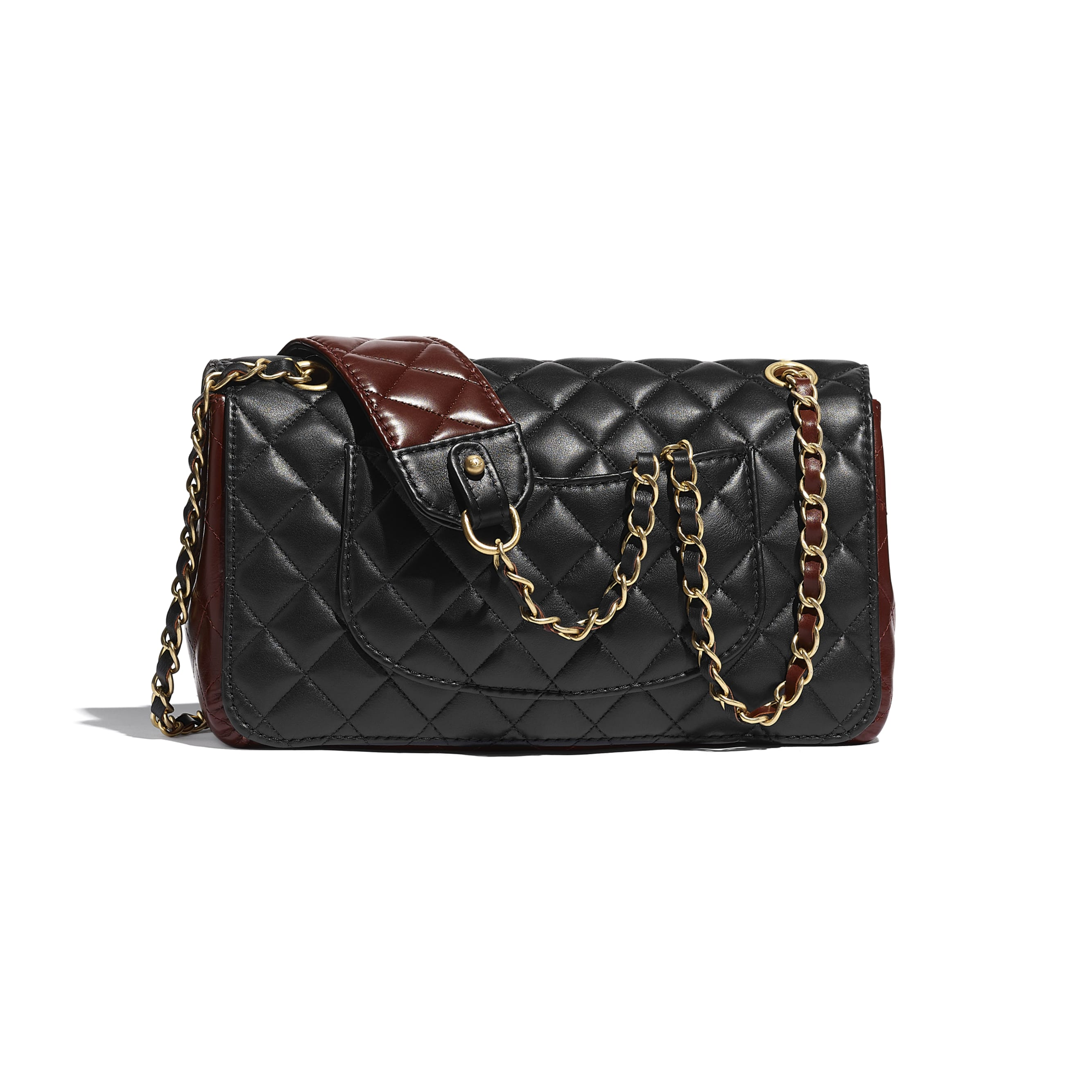 Flap Bag - Black & Brown - Calfskin & Gold-Tone Metal - CHANEL - Alternative view - see standard sized version