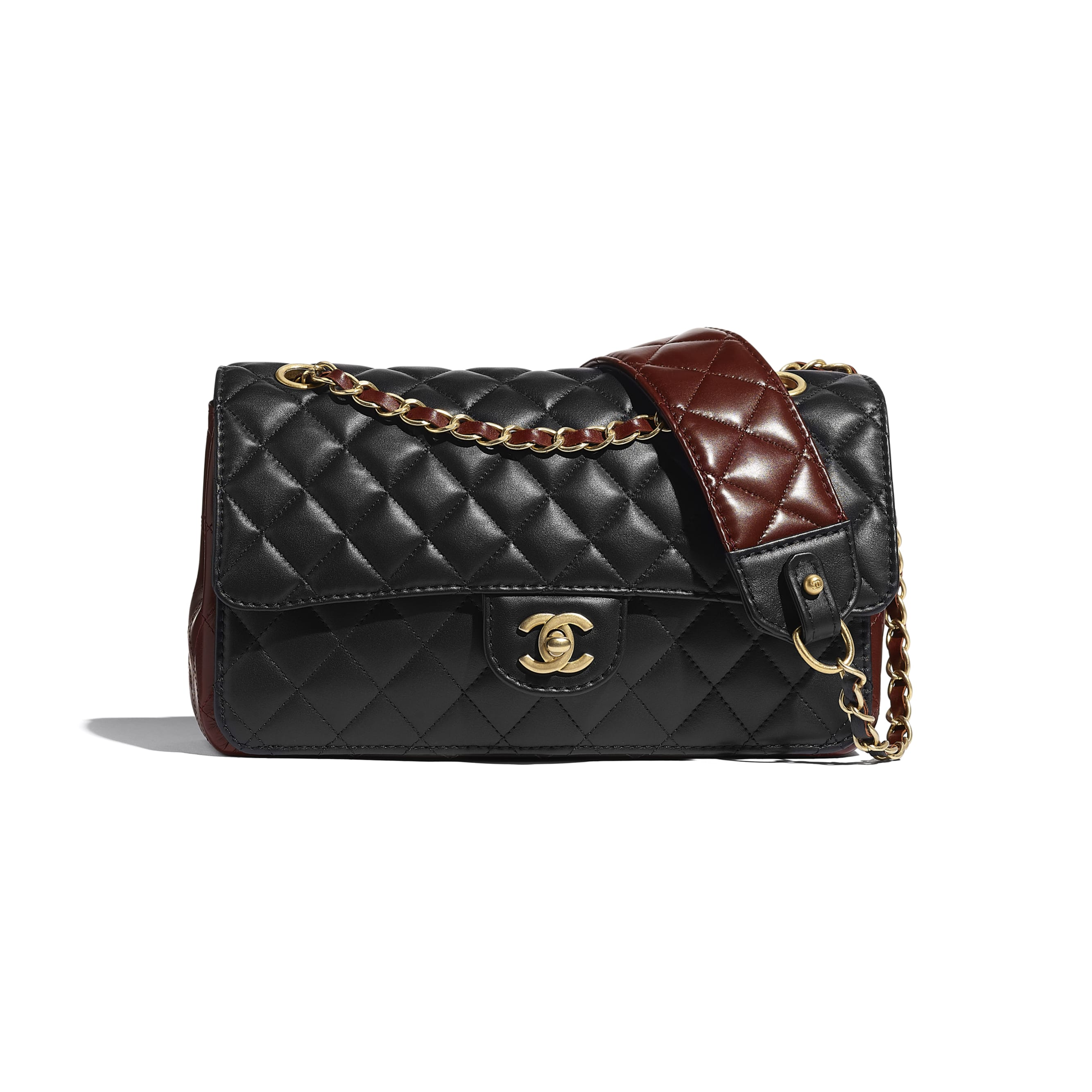 Flap Bag - Black & Brown - Calfskin & Gold-Tone Metal - CHANEL - Default view - see standard sized version