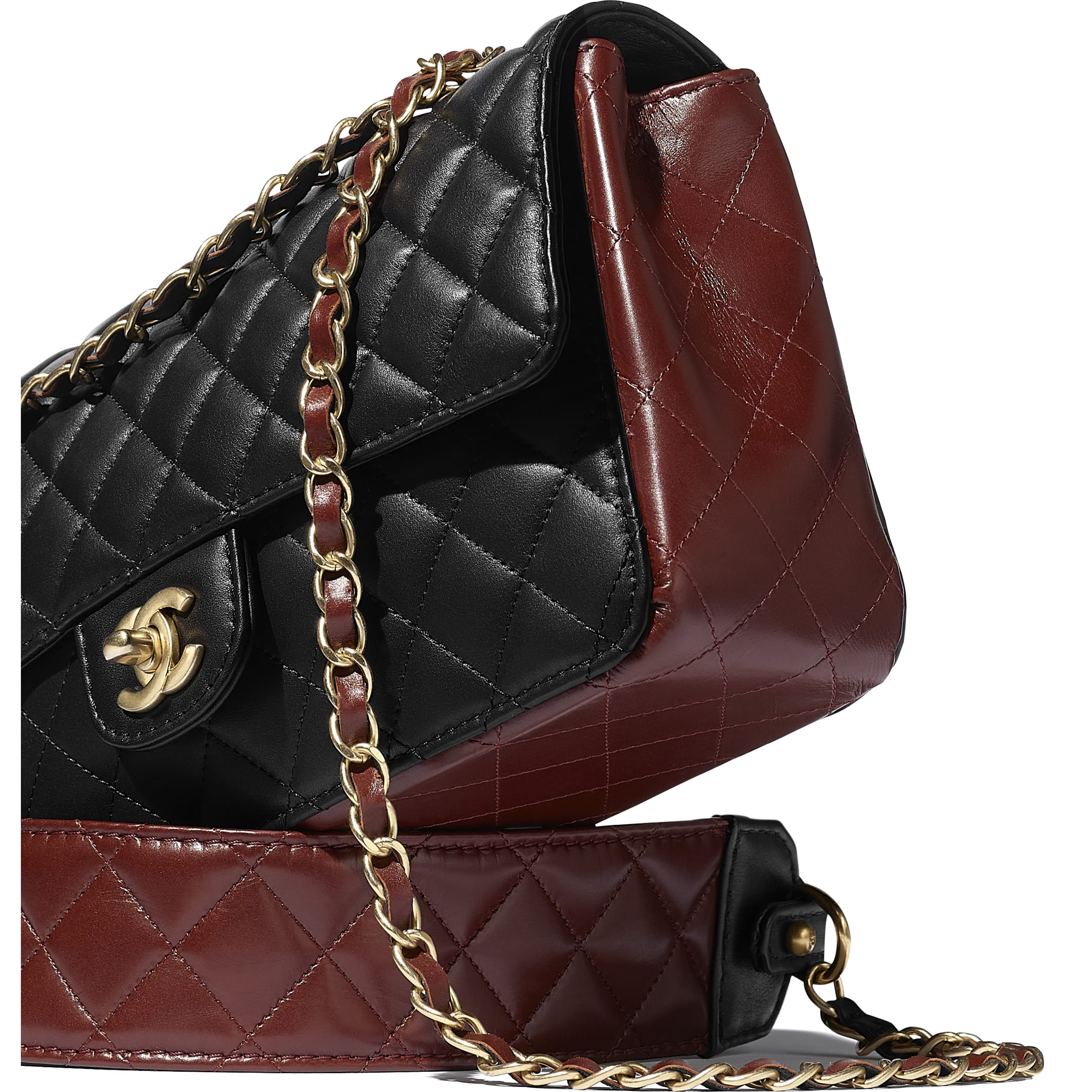 Flap Bag - Black & Brown - Calfskin & Gold-Tone Metal - CHANEL - Extra view - see standard sized version