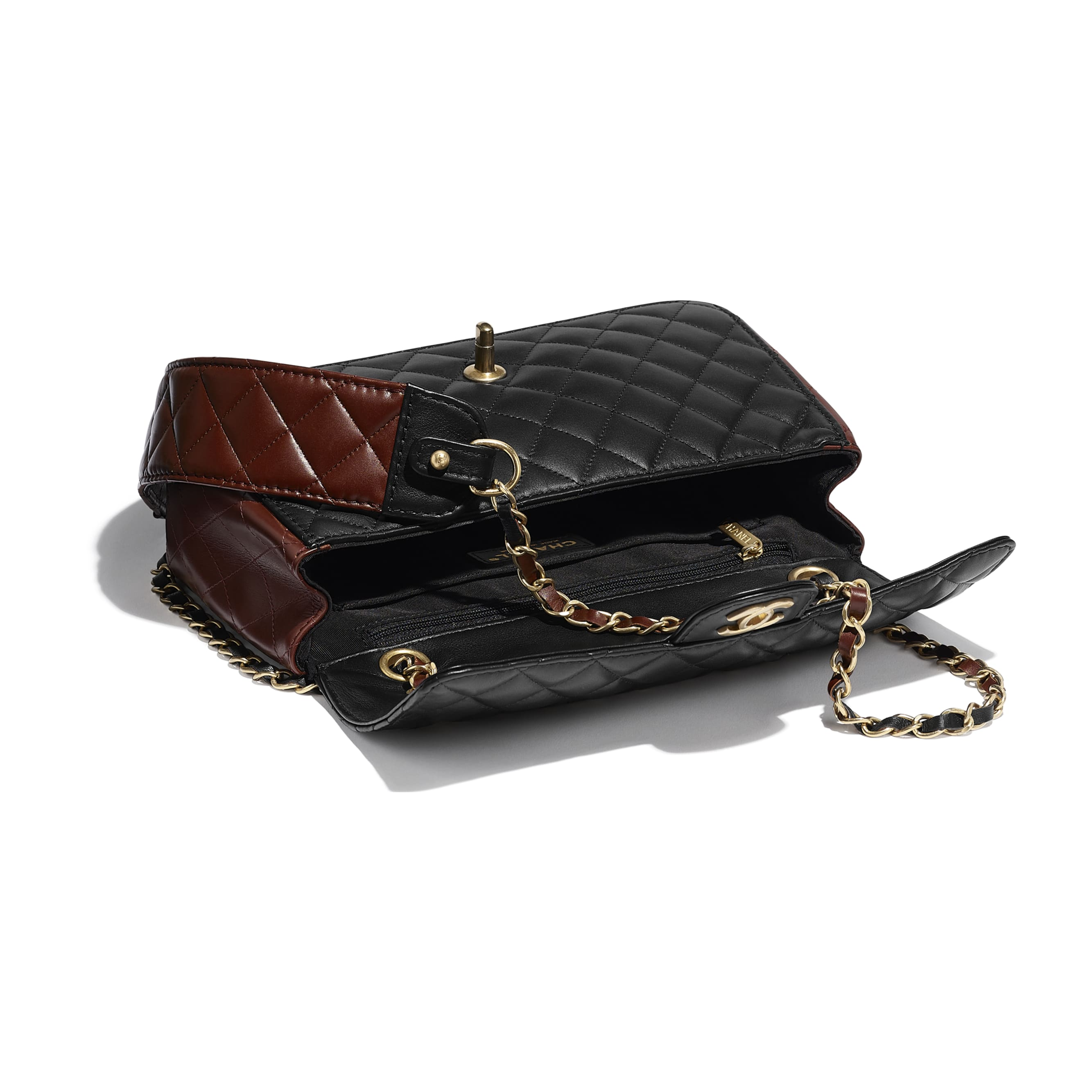 Flap Bag - Black & Brown - Calfskin & Gold-Tone Metal - CHANEL - Other view - see standard sized version