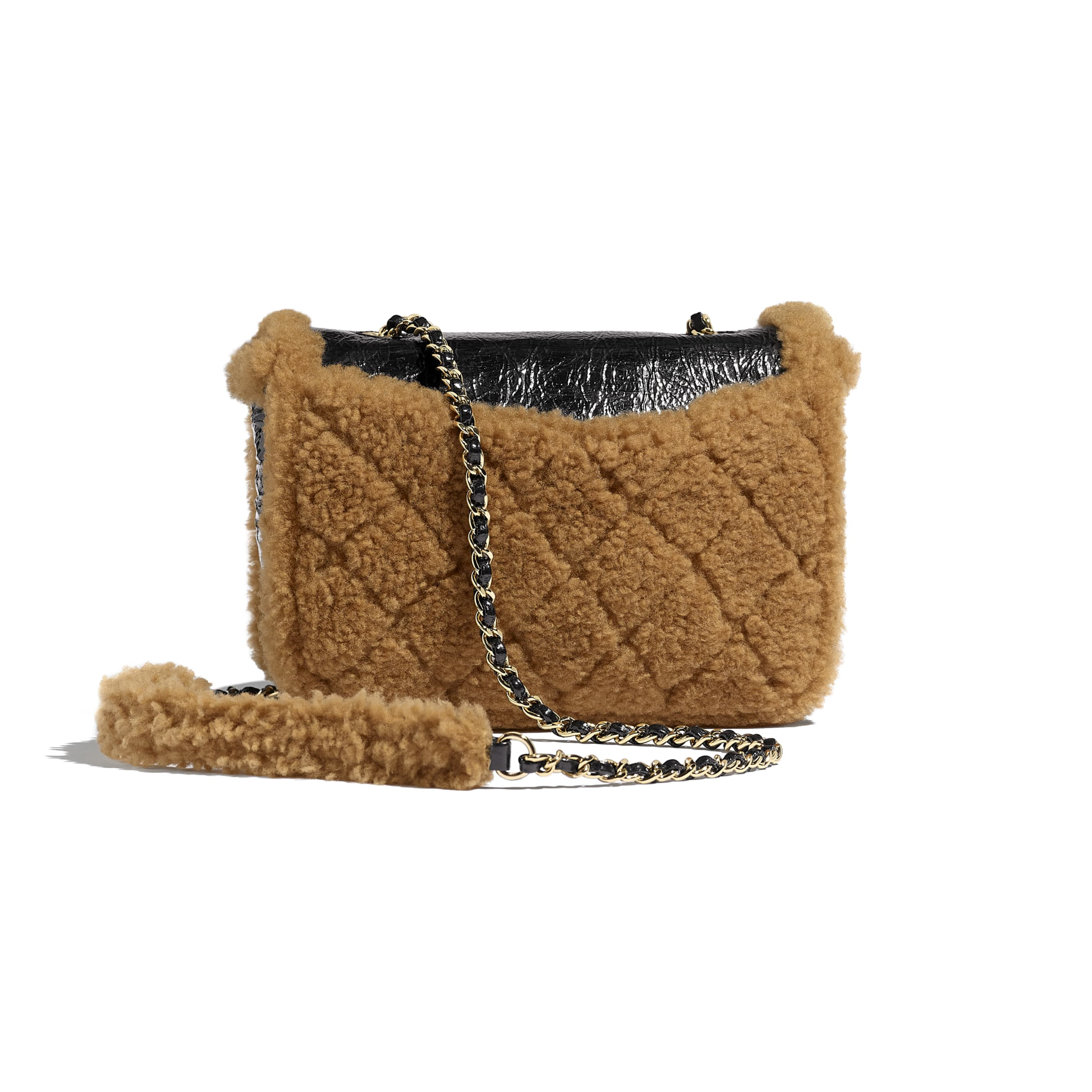 Flap Bag - Black & Brown - Shiny Crumpled Sheepskin, Shearling Sheepskin & Gold-Tone Metal - Alternative view - see standard sized version