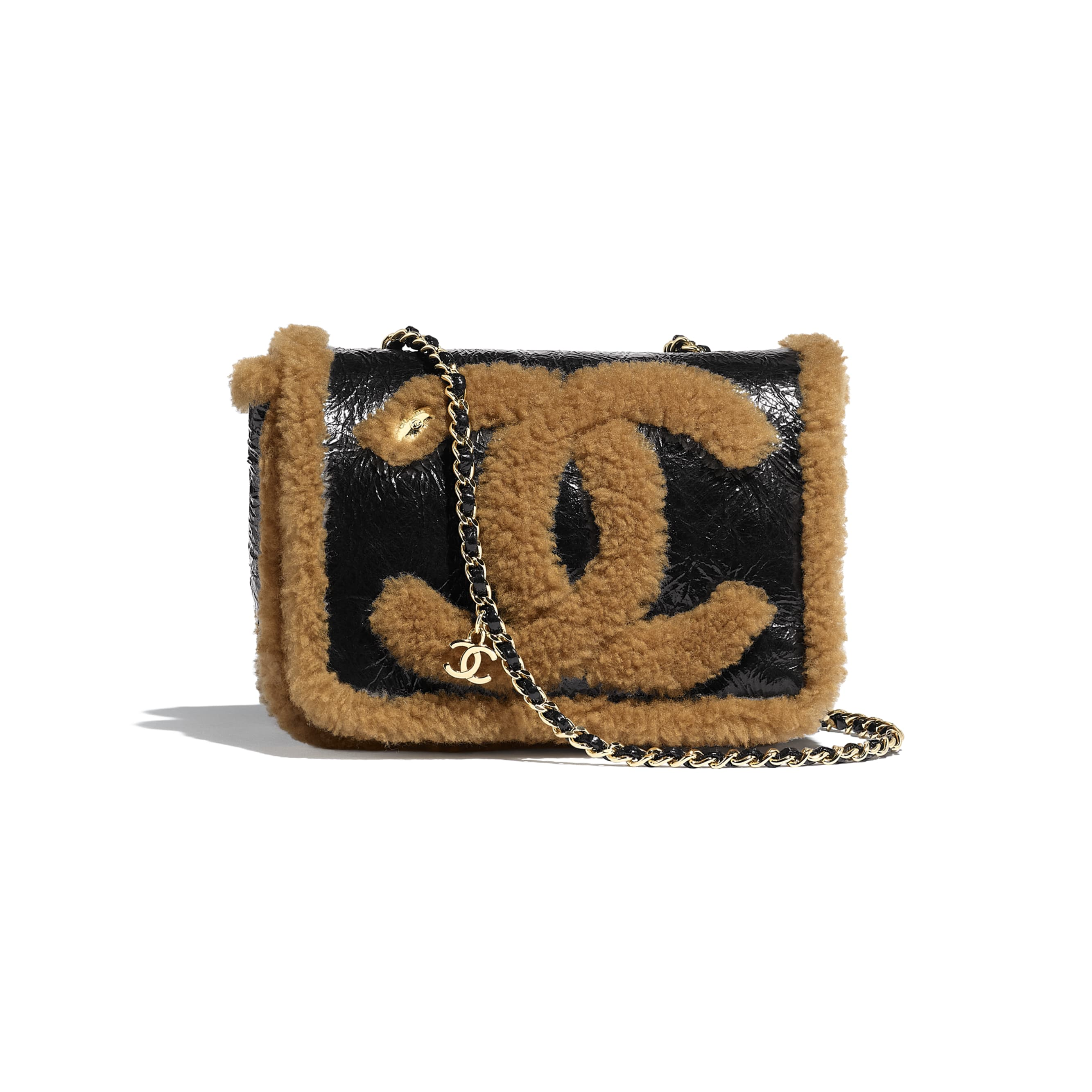 Flap Bag - Black & Brown - Shiny Crumpled Sheepskin, Shearling Sheepskin & Gold-Tone Metal - Default view - see standard sized version