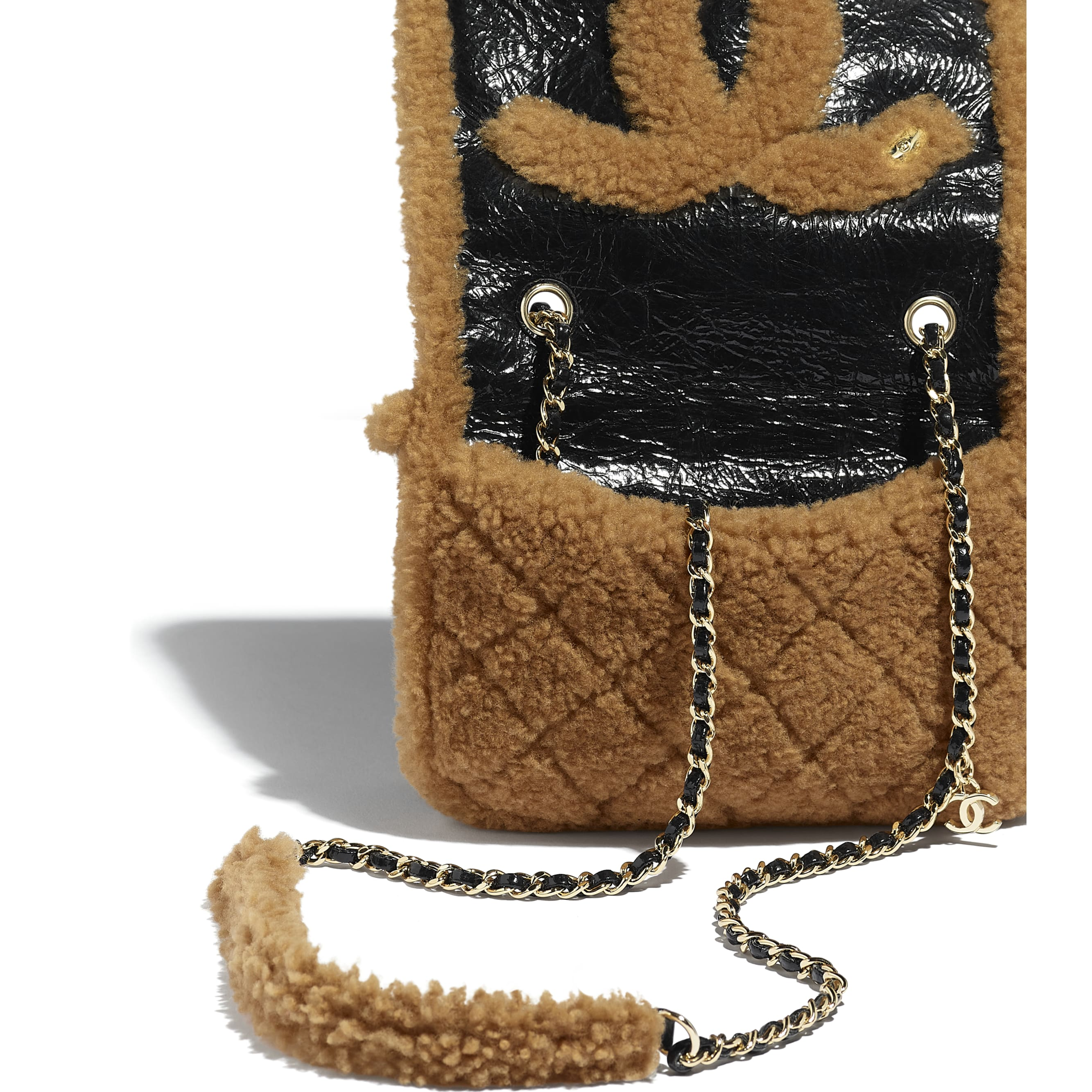 Flap Bag - Black & Brown - Shiny Crumpled Sheepskin, Shearling Sheepskin & Gold-Tone Metal - Extra view - see standard sized version