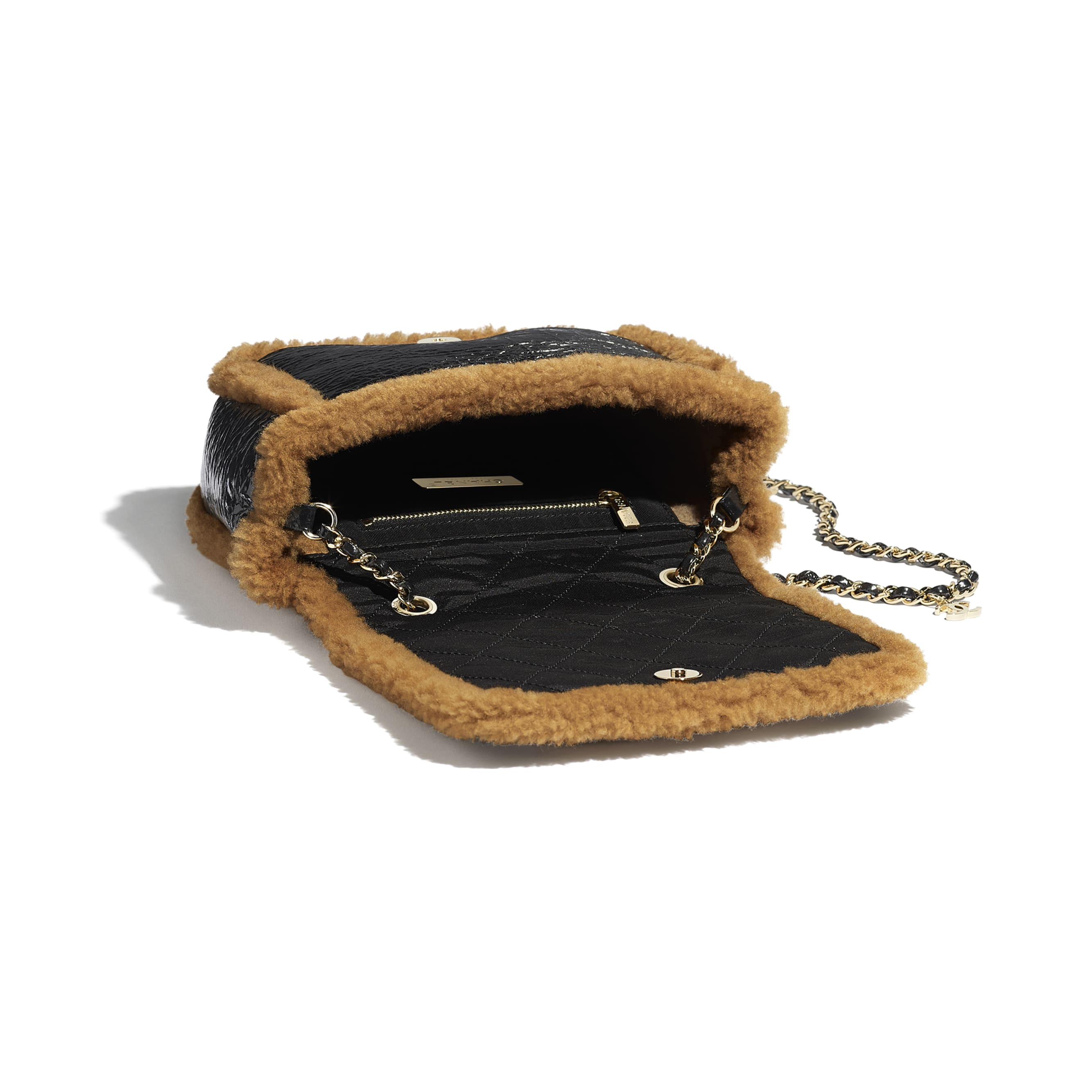 Flap Bag - Black & Brown - Shiny Crumpled Sheepskin, Shearling Sheepskin & Gold-Tone Metal - Other view - see standard sized version