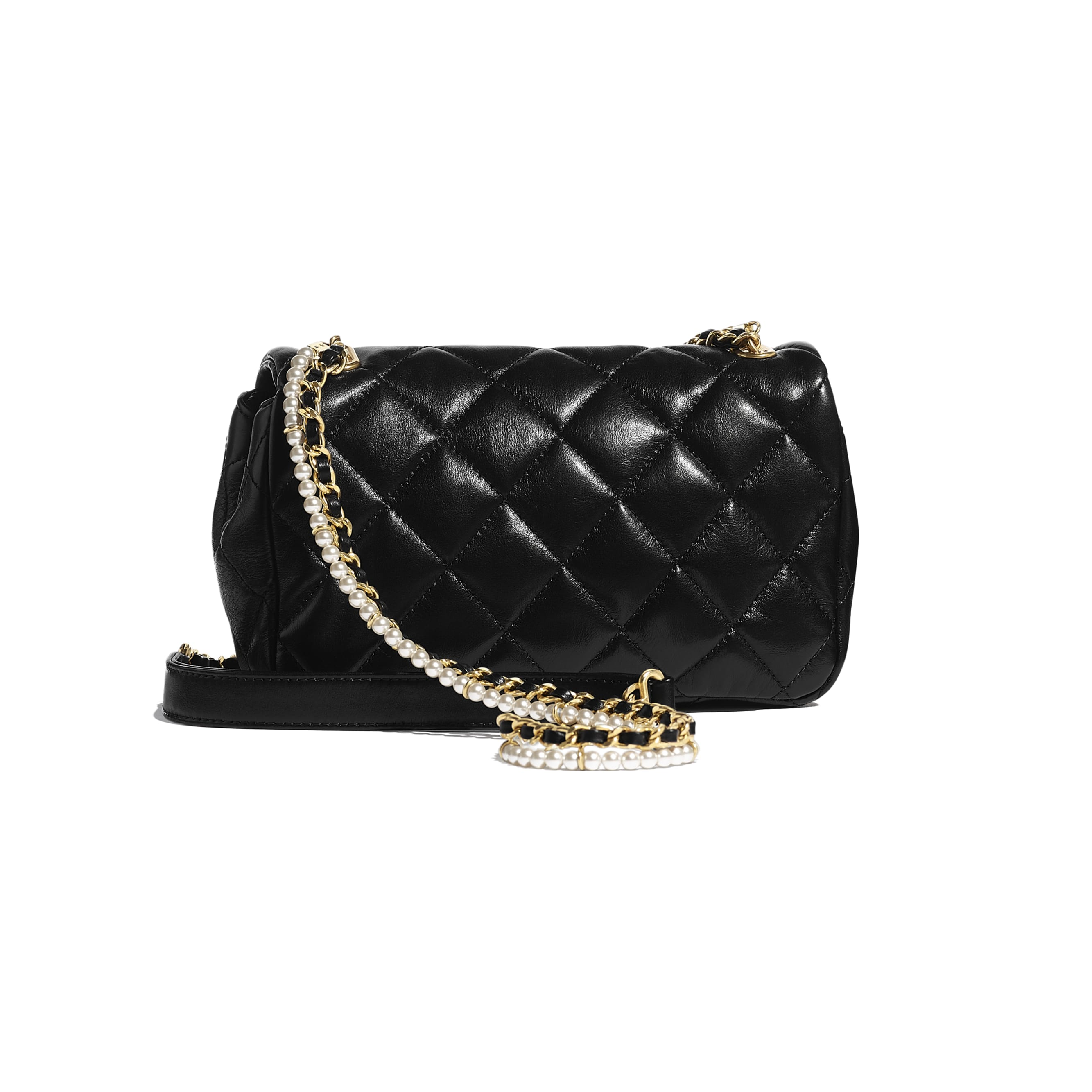 Flap Bag - Black - Calfskin, Crystal Pearls & Gold-Tone Metal - CHANEL - Alternative view - see standard sized version