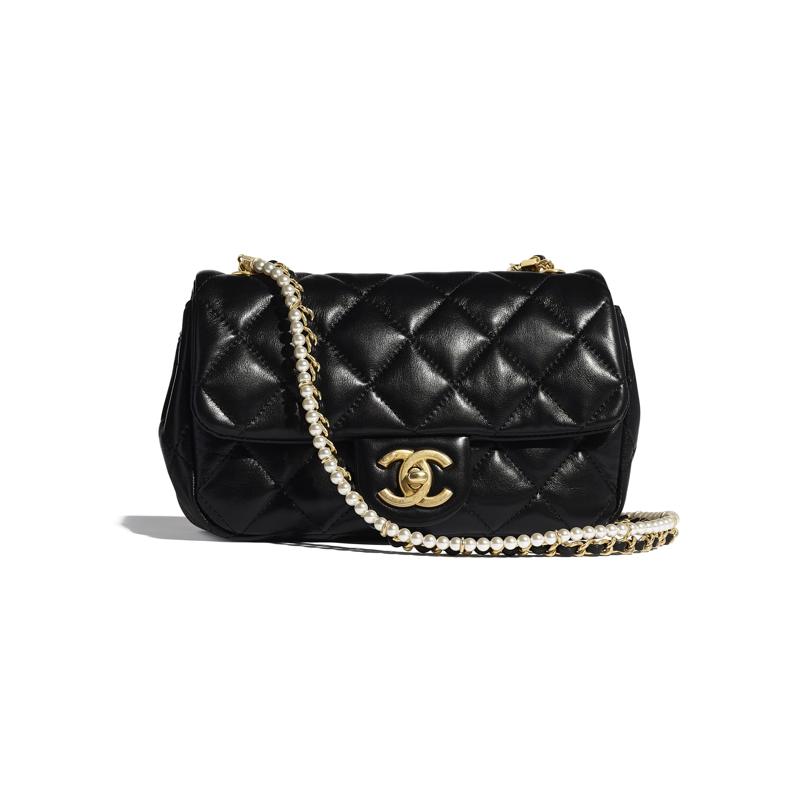 Flap Bag - Black - Calfskin, Crystal Pearls & Gold-Tone Metal - CHANEL - Default view - see standard sized version