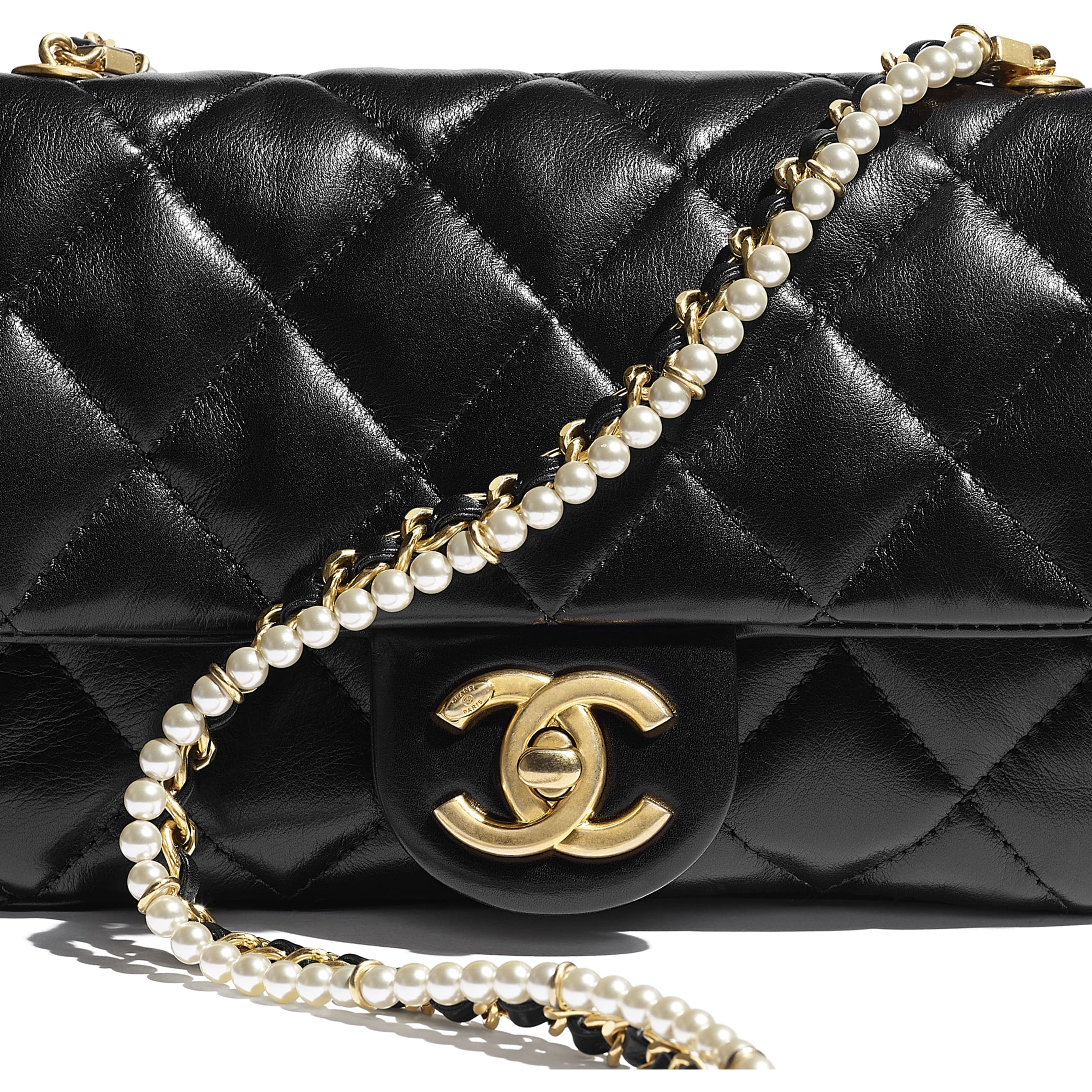 Flap Bag - Black - Calfskin, Crystal Pearls & Gold-Tone Metal - CHANEL - Extra view - see standard sized version