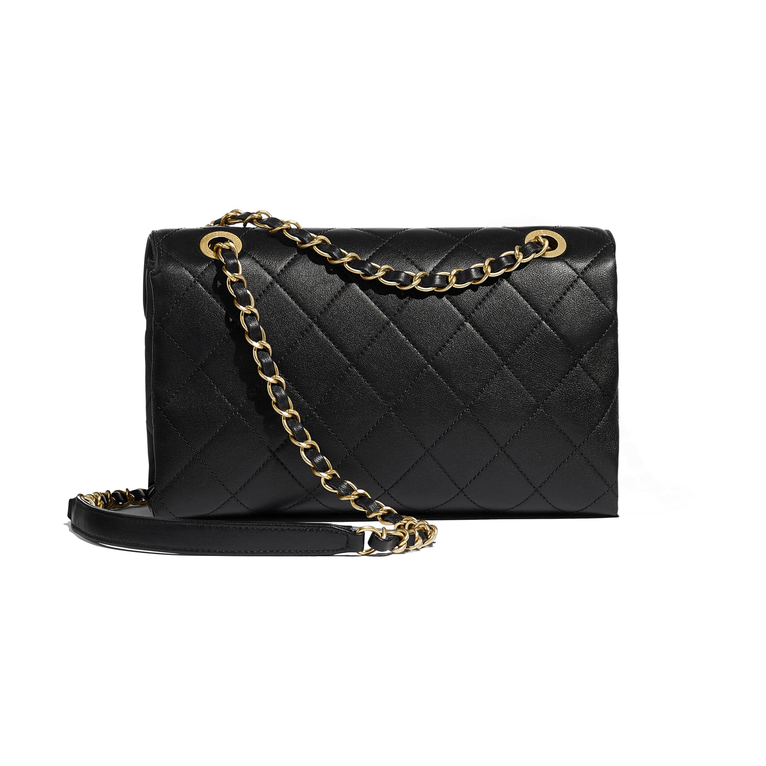 Flap Bag - Black - Calfskin & Gold-Tone Metal - Alternative view - see standard sized version