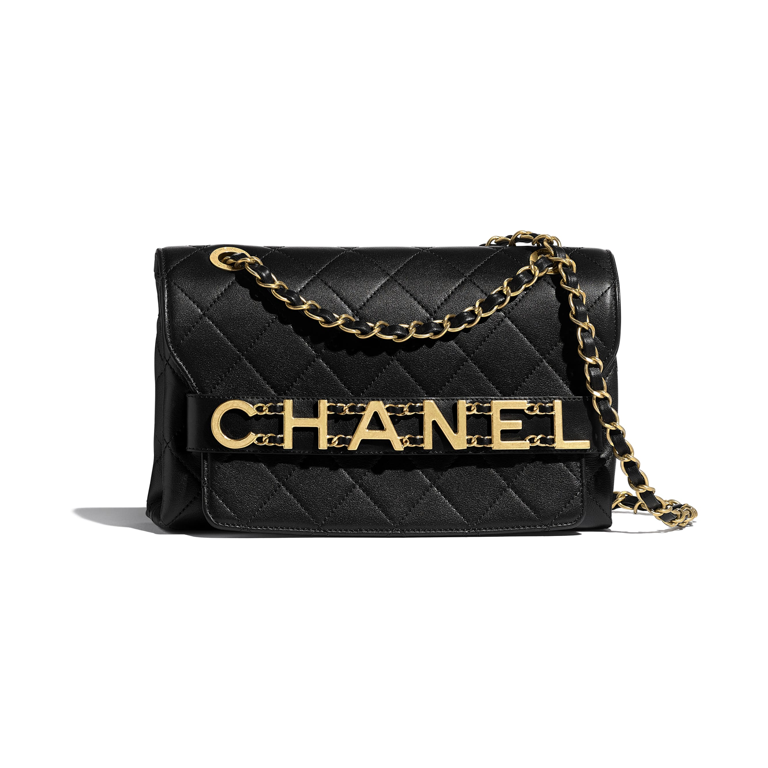 Flap Bag - Black - Calfskin & Gold-Tone Metal - Default view - see standard sized version