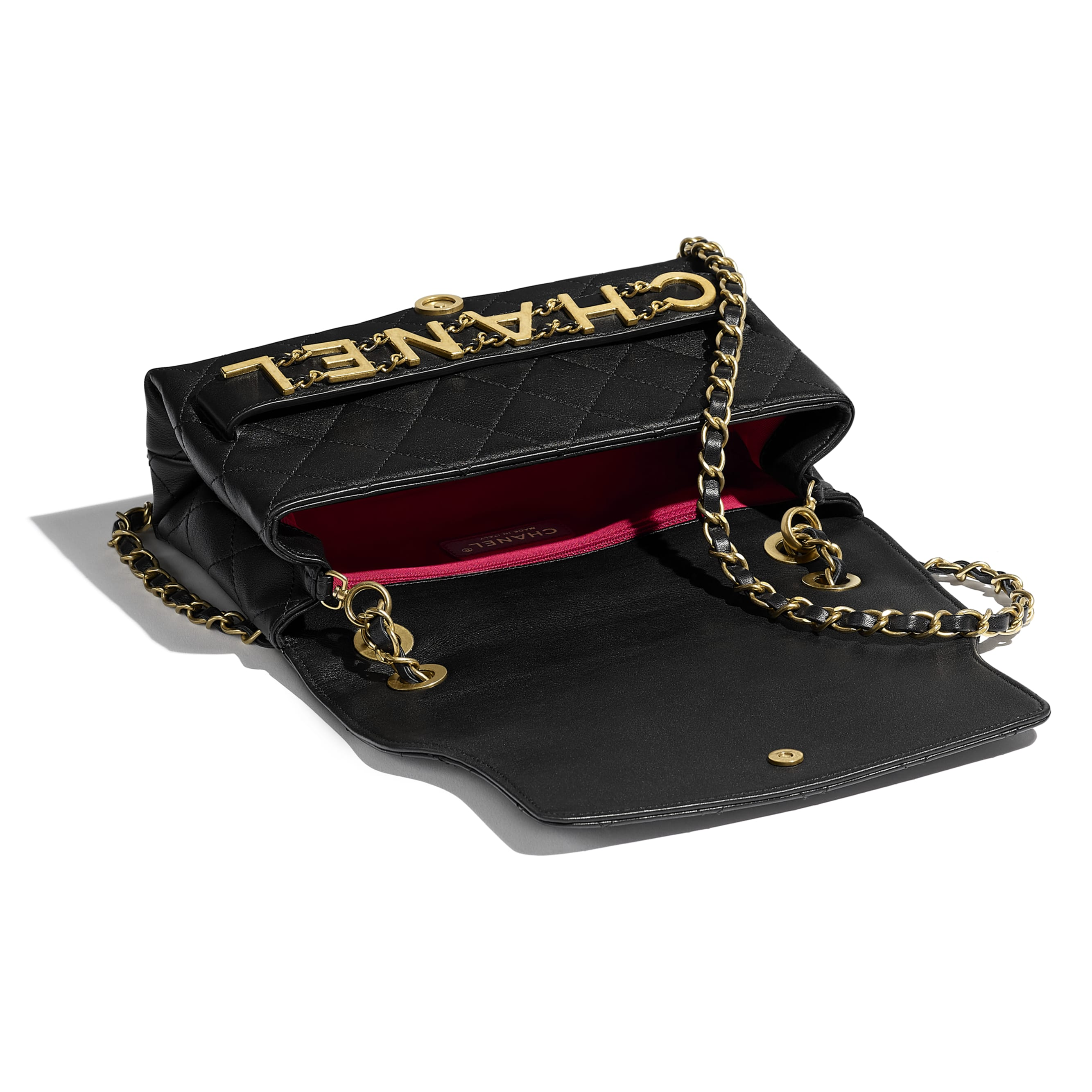 Flap Bag - Black - Calfskin & Gold-Tone Metal - Other view - see standard sized version
