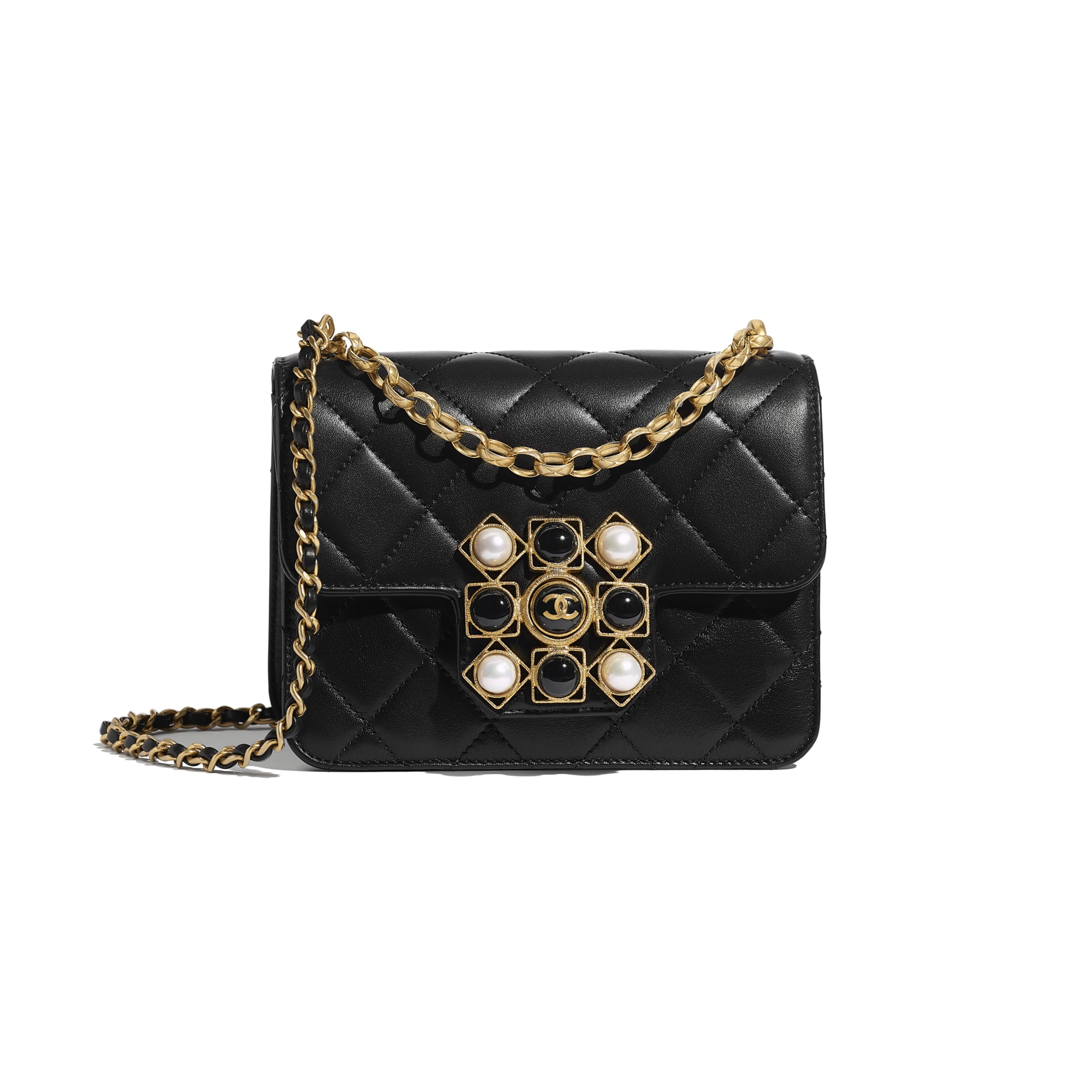 Flap Bag - Black - Calfskin, Onyx, Pearls & Gold-Tone Metal - CHANEL - Default view - see standard sized version
