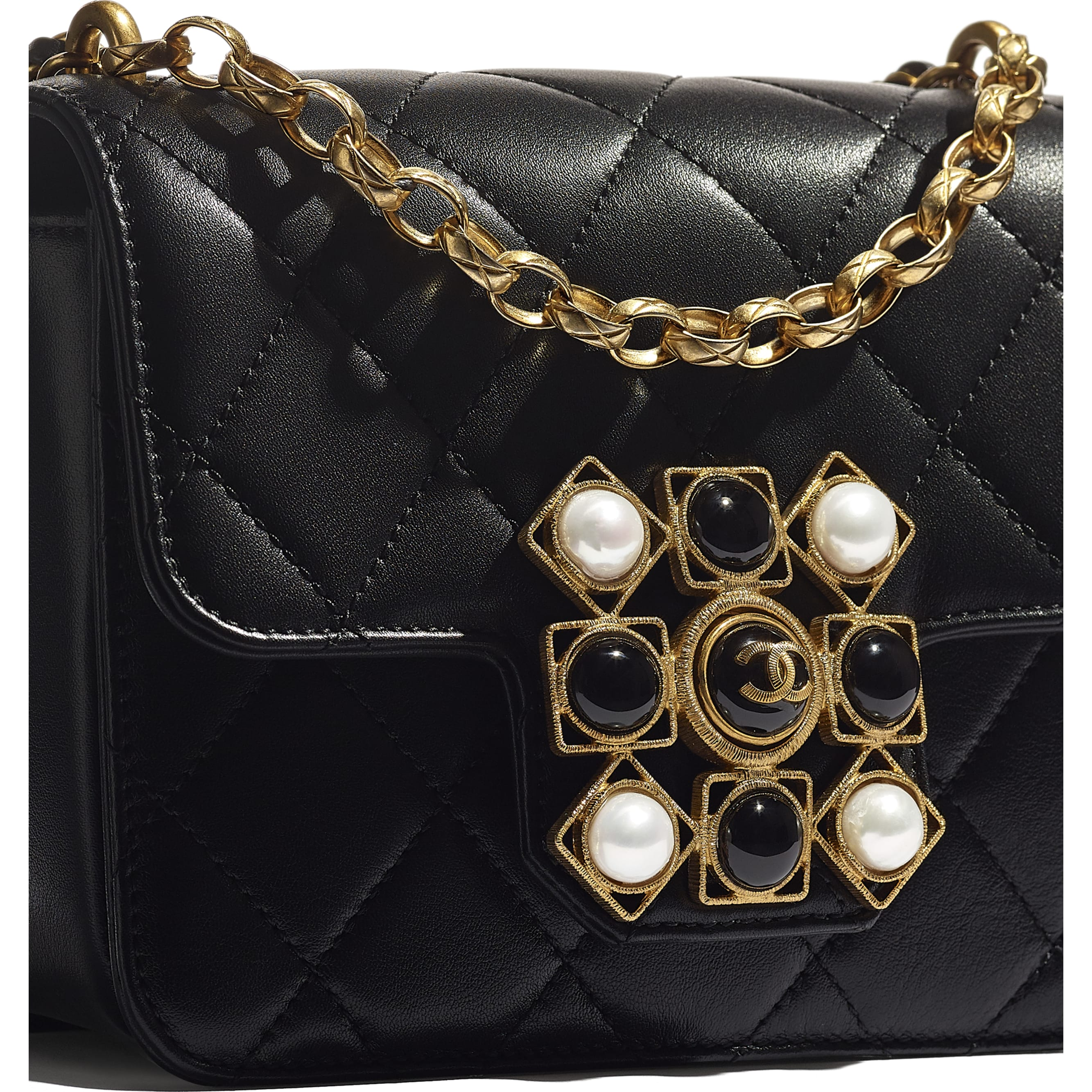 Flap Bag - Black - Calfskin, Onyx, Pearls & Gold-Tone Metal - CHANEL - Extra view - see standard sized version