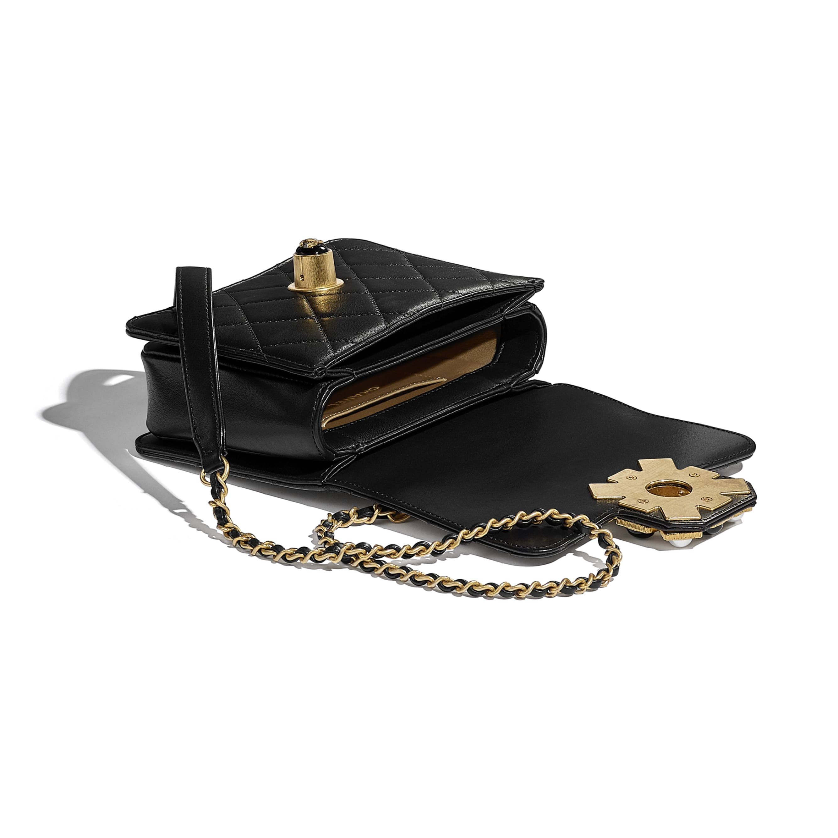 Flap Bag - Black - Calfskin, Onyx, Pearls & Gold-Tone Metal - CHANEL - Other view - see standard sized version