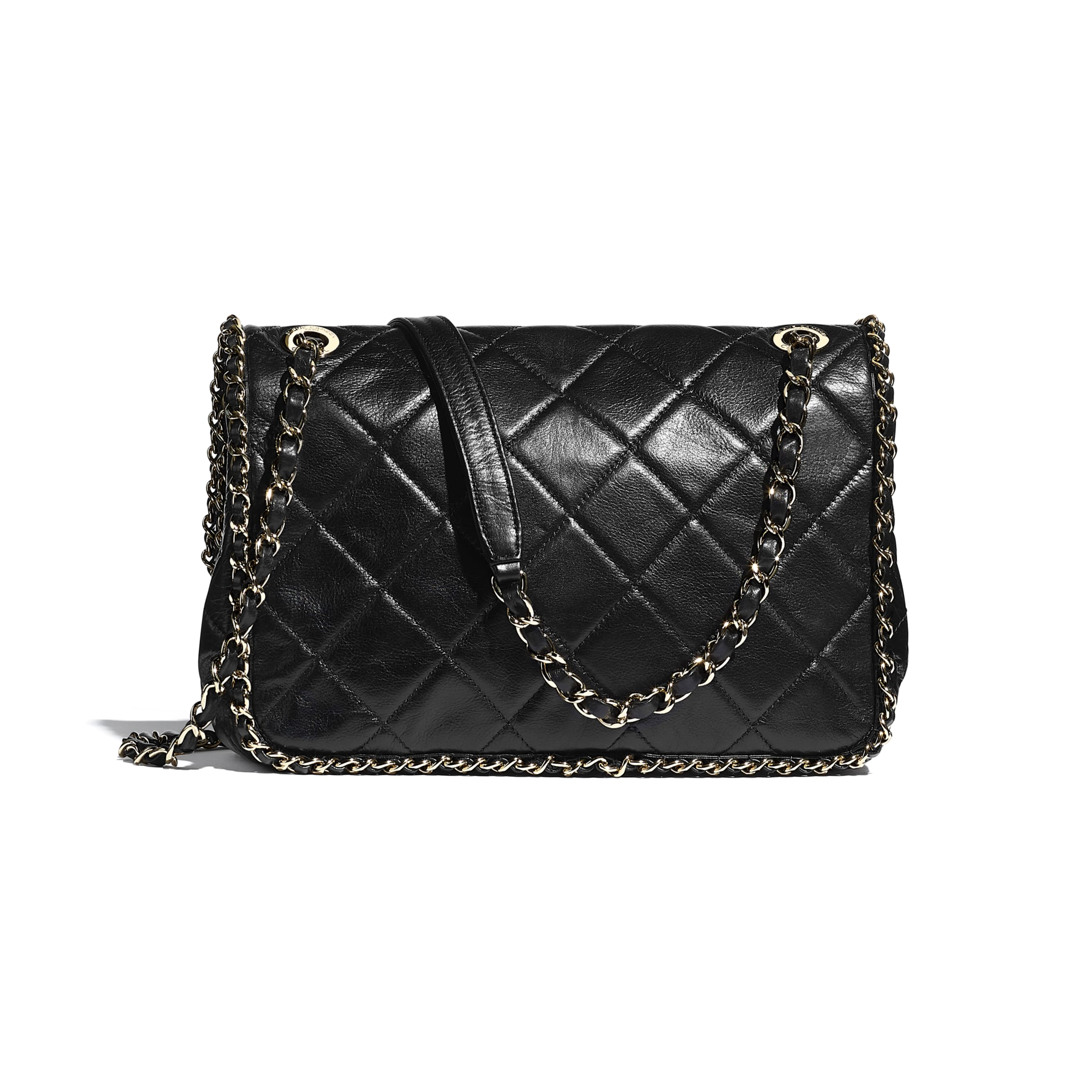 Flap Bag - Black - Crumpled Calfskin & Gold Metal - CHANEL - Alternative view - see standard sized version