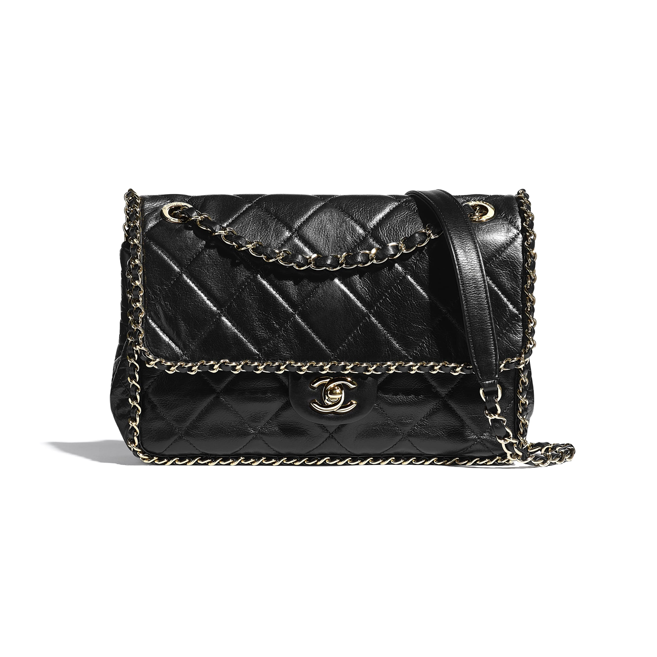 Flap Bag - Black - Crumpled Calfskin & Gold Metal - CHANEL - Default view - see standard sized version