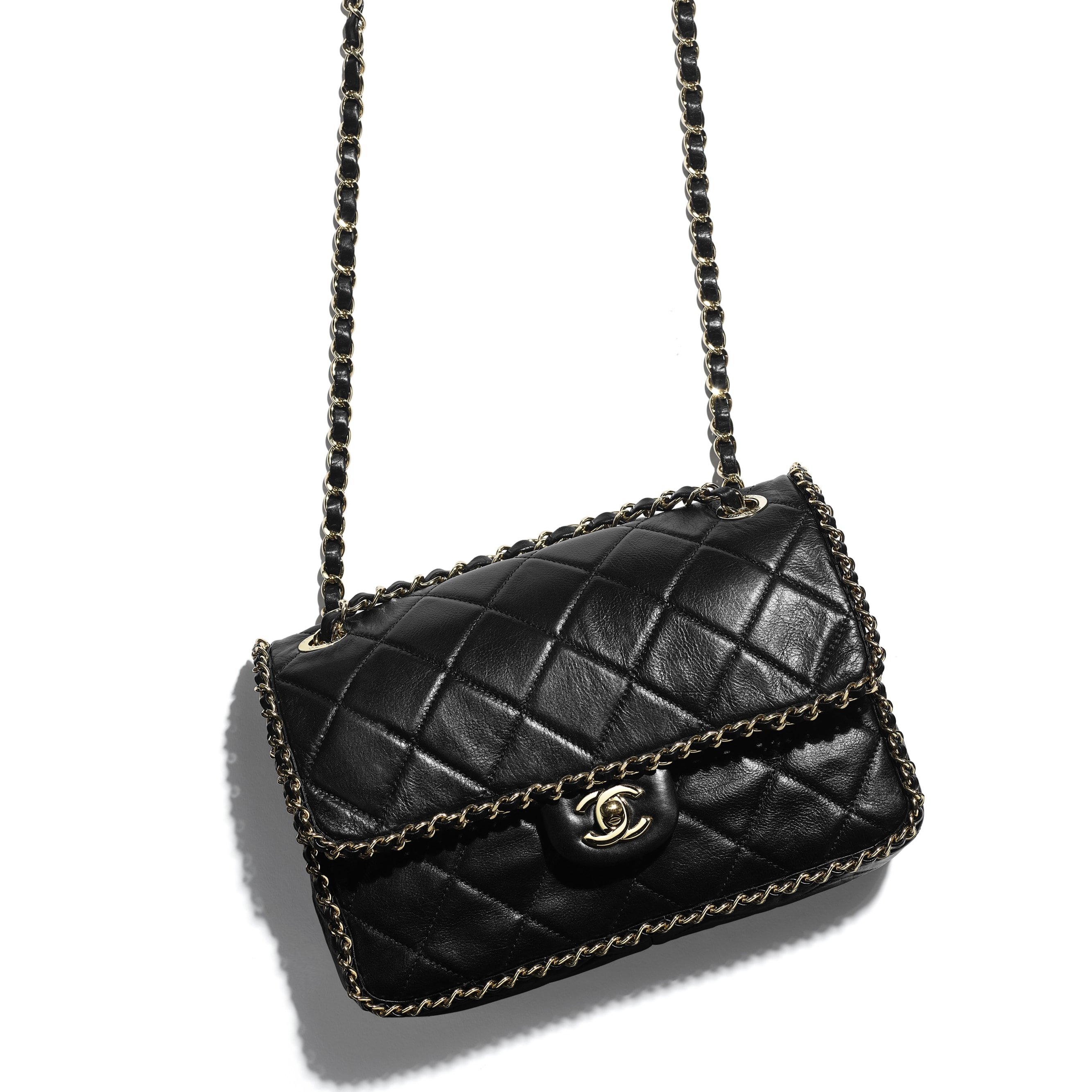 Flap Bag - Black - Crumpled Calfskin & Gold Metal - CHANEL - Extra view - see standard sized version