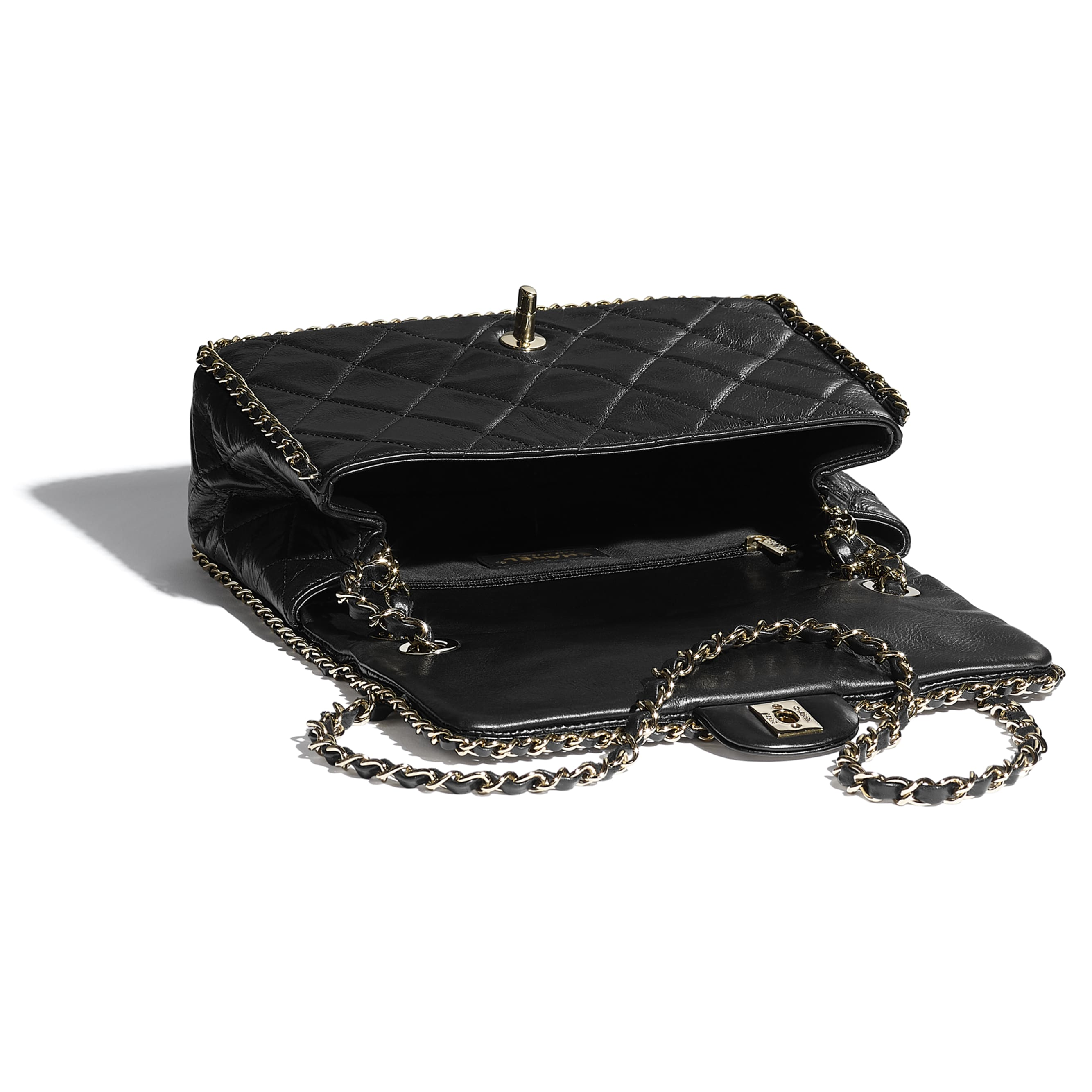 Flap Bag - Black - Crumpled Calfskin & Gold Metal - CHANEL - Other view - see standard sized version