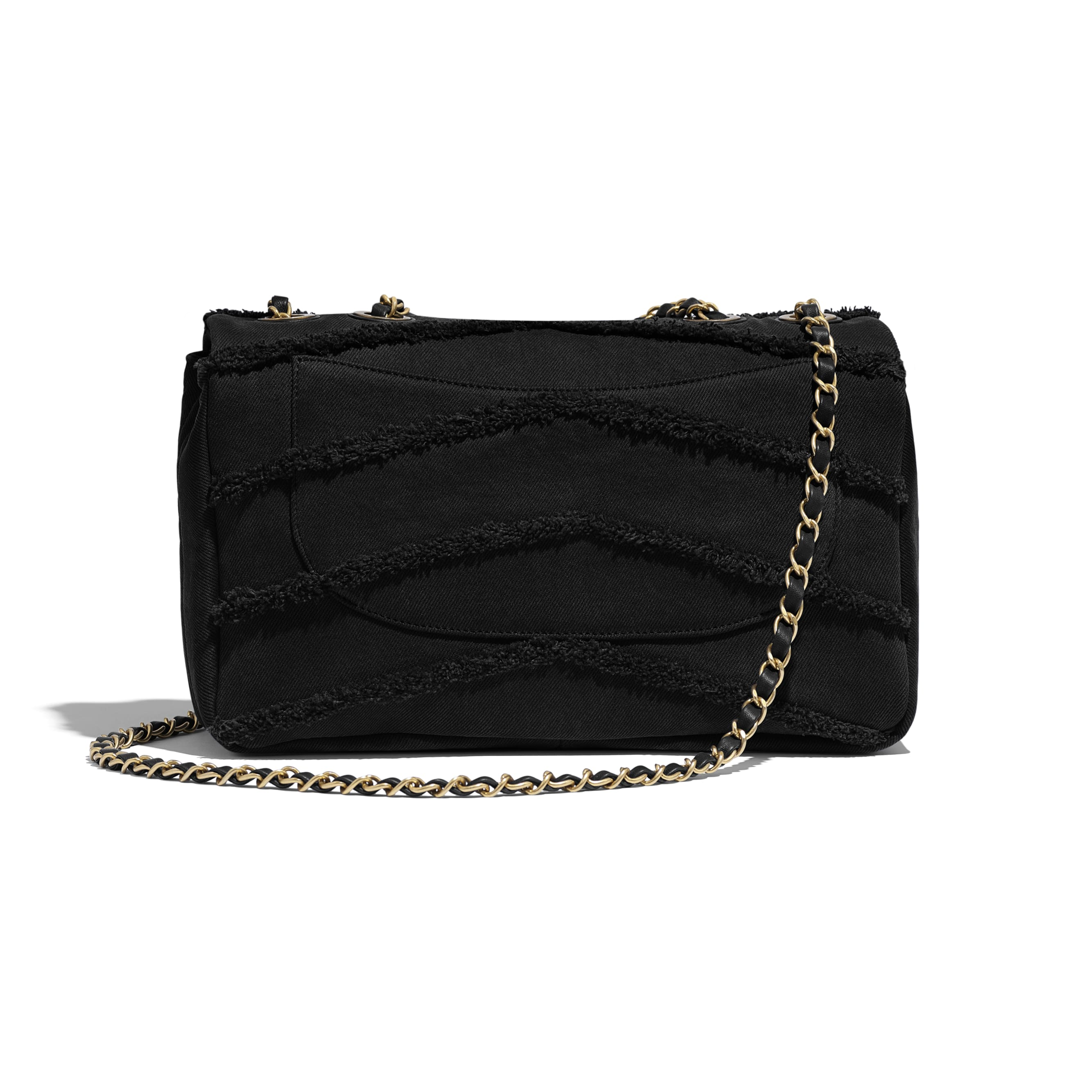 Flap Bag - Black - Denim & Gold Metal - Alternative view - see standard sized version
