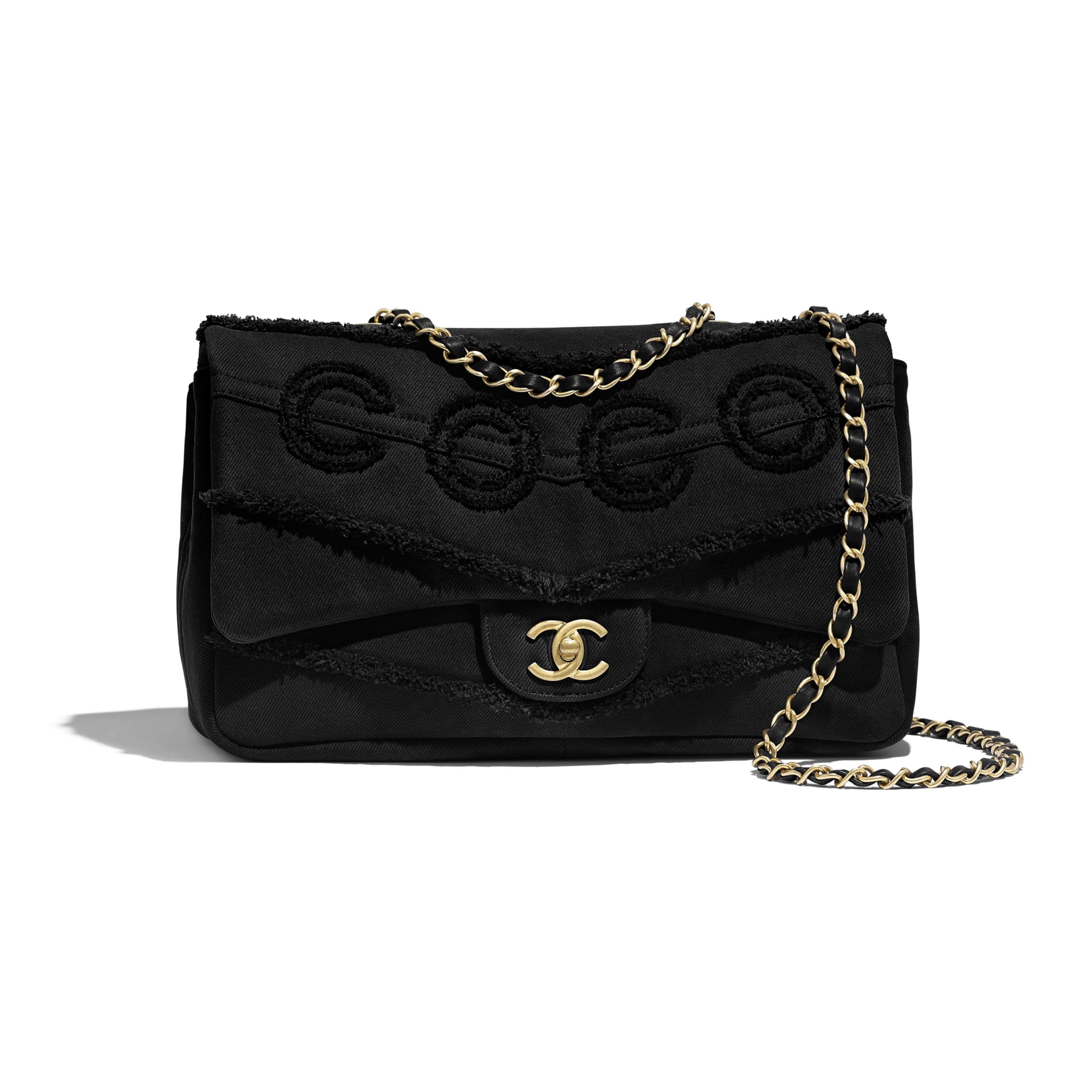 Flap Bag - Black - Denim & Gold Metal - Default view - see standard sized version