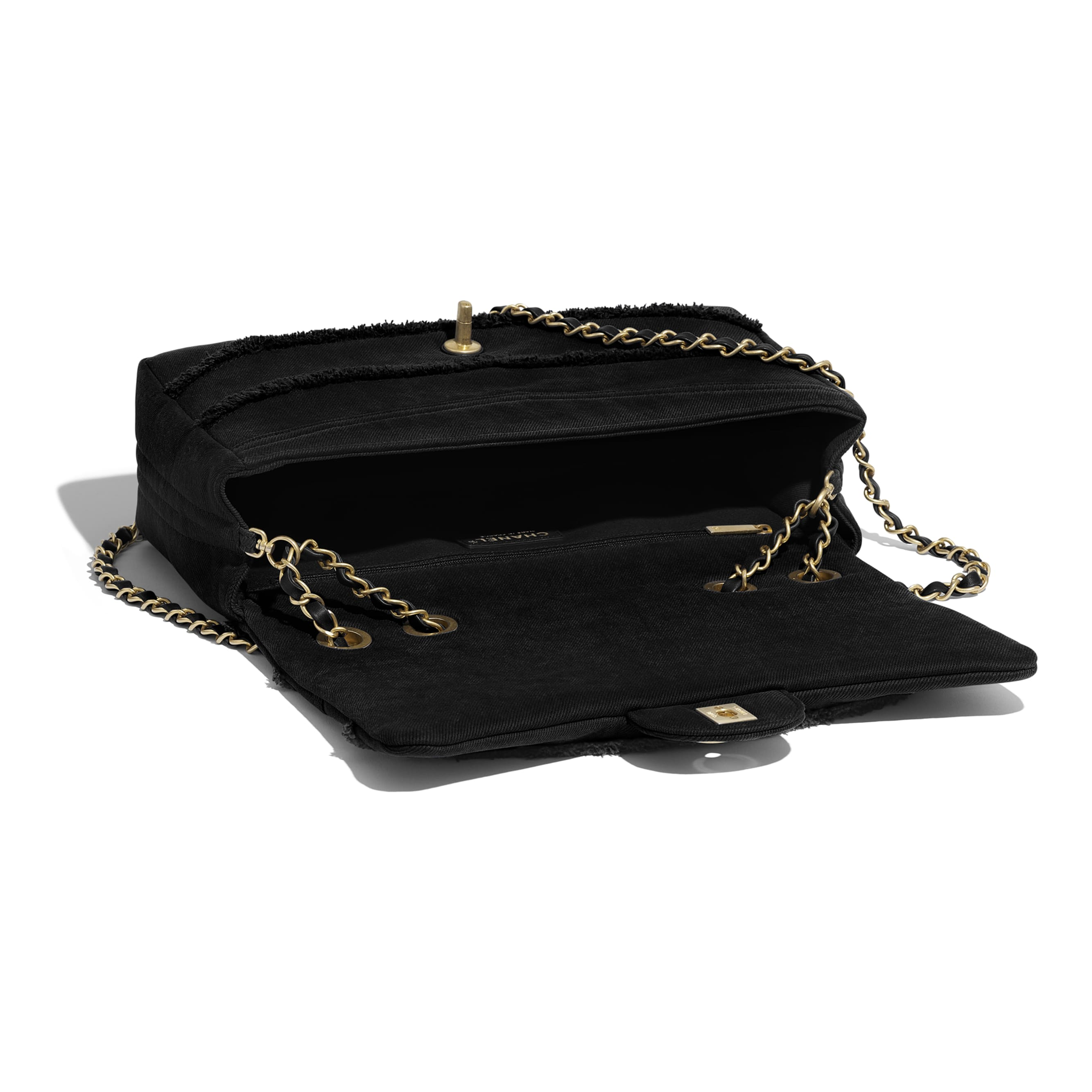 Flap Bag - Black - Denim & Gold Metal - Other view - see standard sized version
