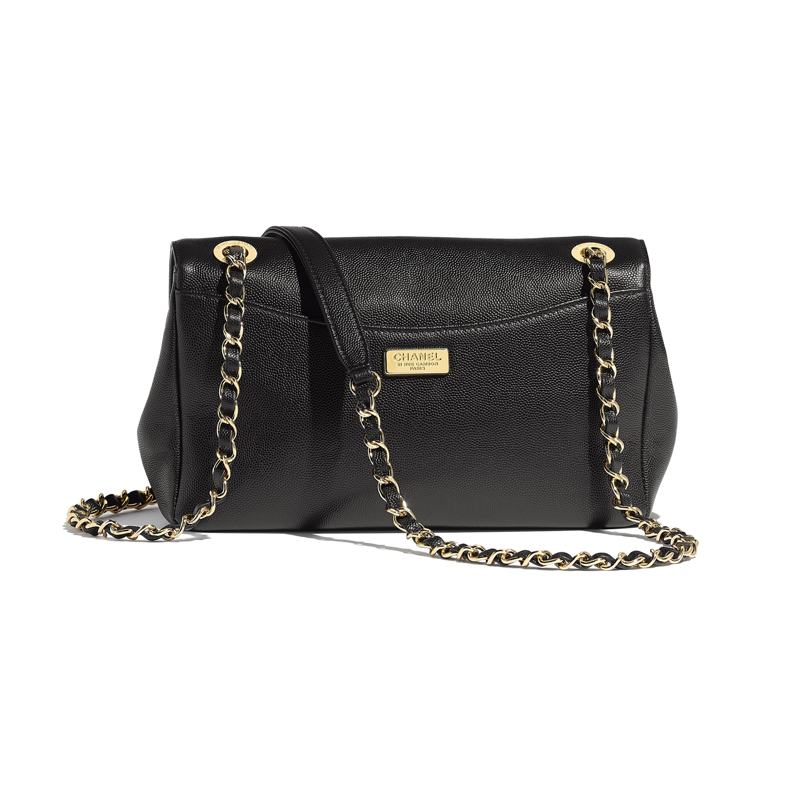 Flap Bag - Black - Embroidered Grained Calfskin & Gold-Tone Metal - Alternative view - see standard sized version