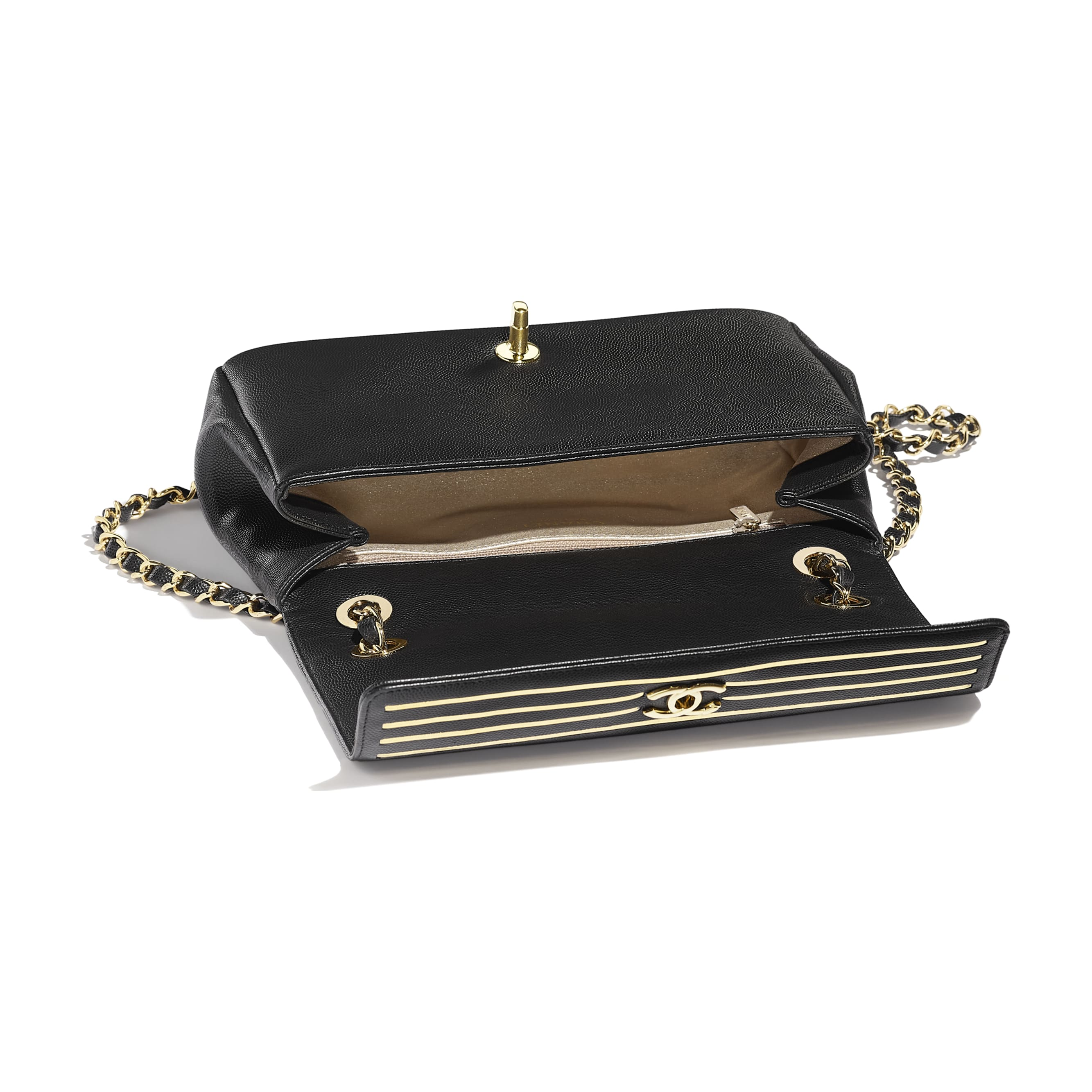 Flap Bag - Black - Embroidered Grained Calfskin & Gold-Tone Metal - Other view - see standard sized version