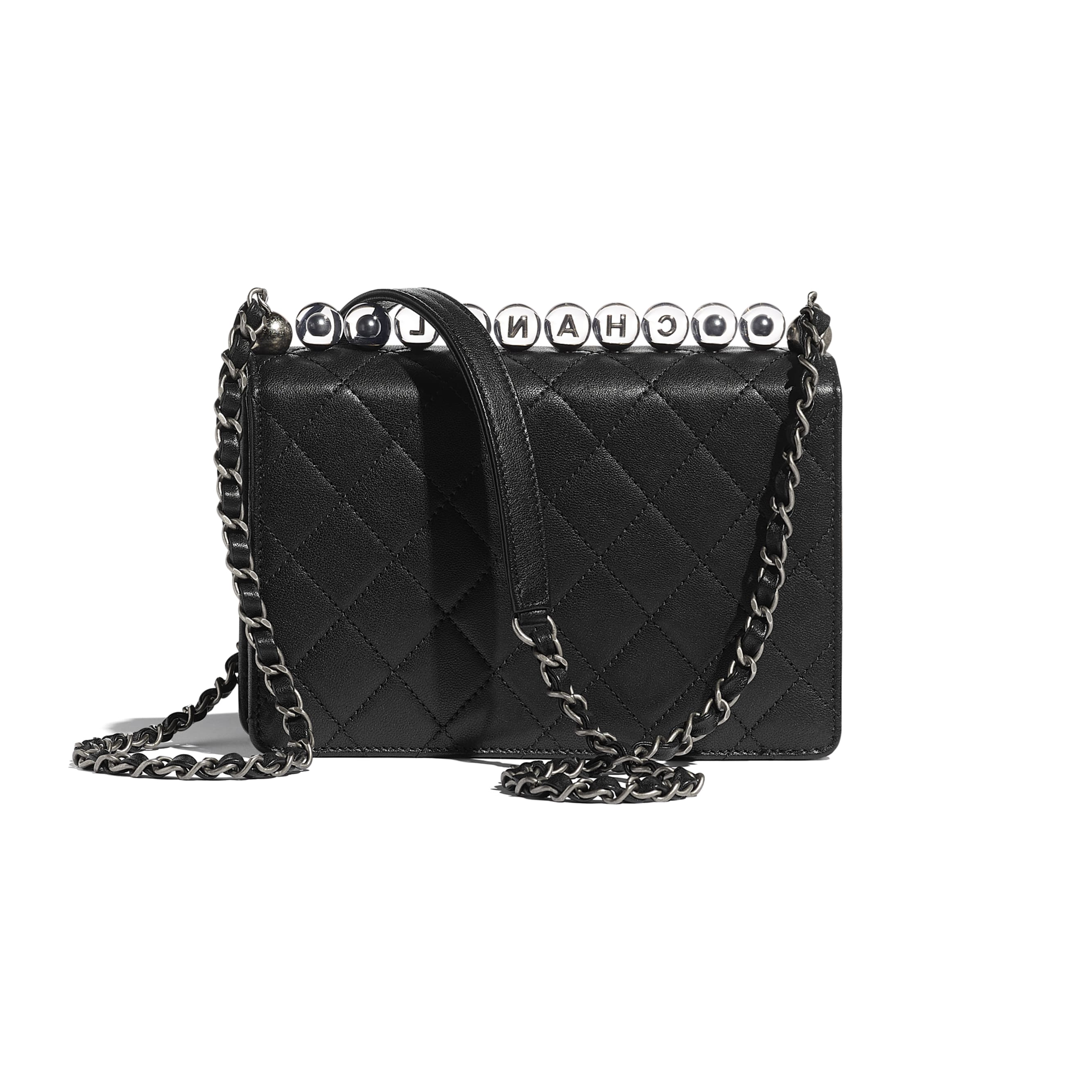 Flap Bag - Black - Goatskin, Acrylic Beads & Ruthenium-Finish Metal - Alternative view - see standard sized version
