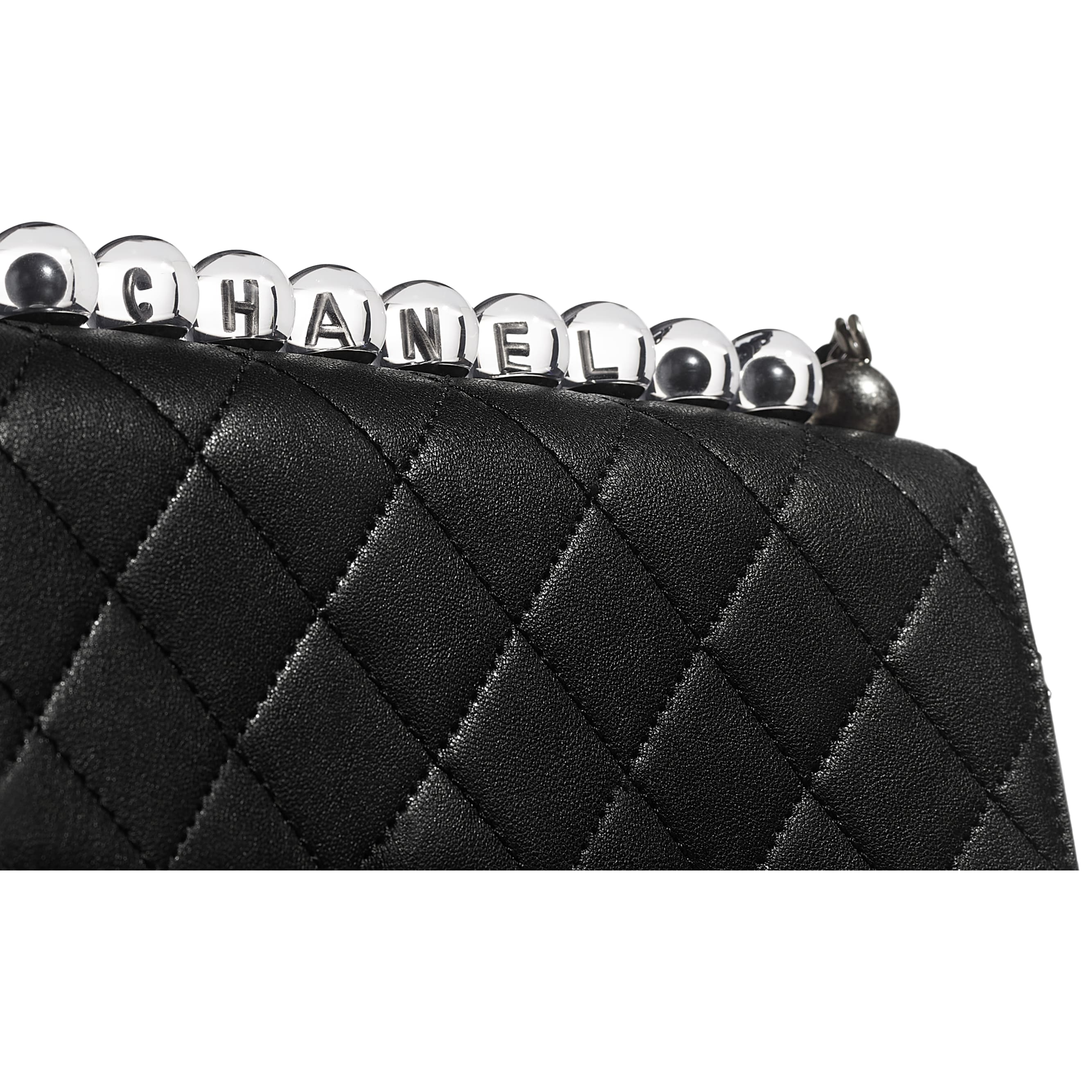 Flap Bag - Black - Goatskin, Acrylic Beads & Ruthenium-Finish Metal - Extra view - see standard sized version