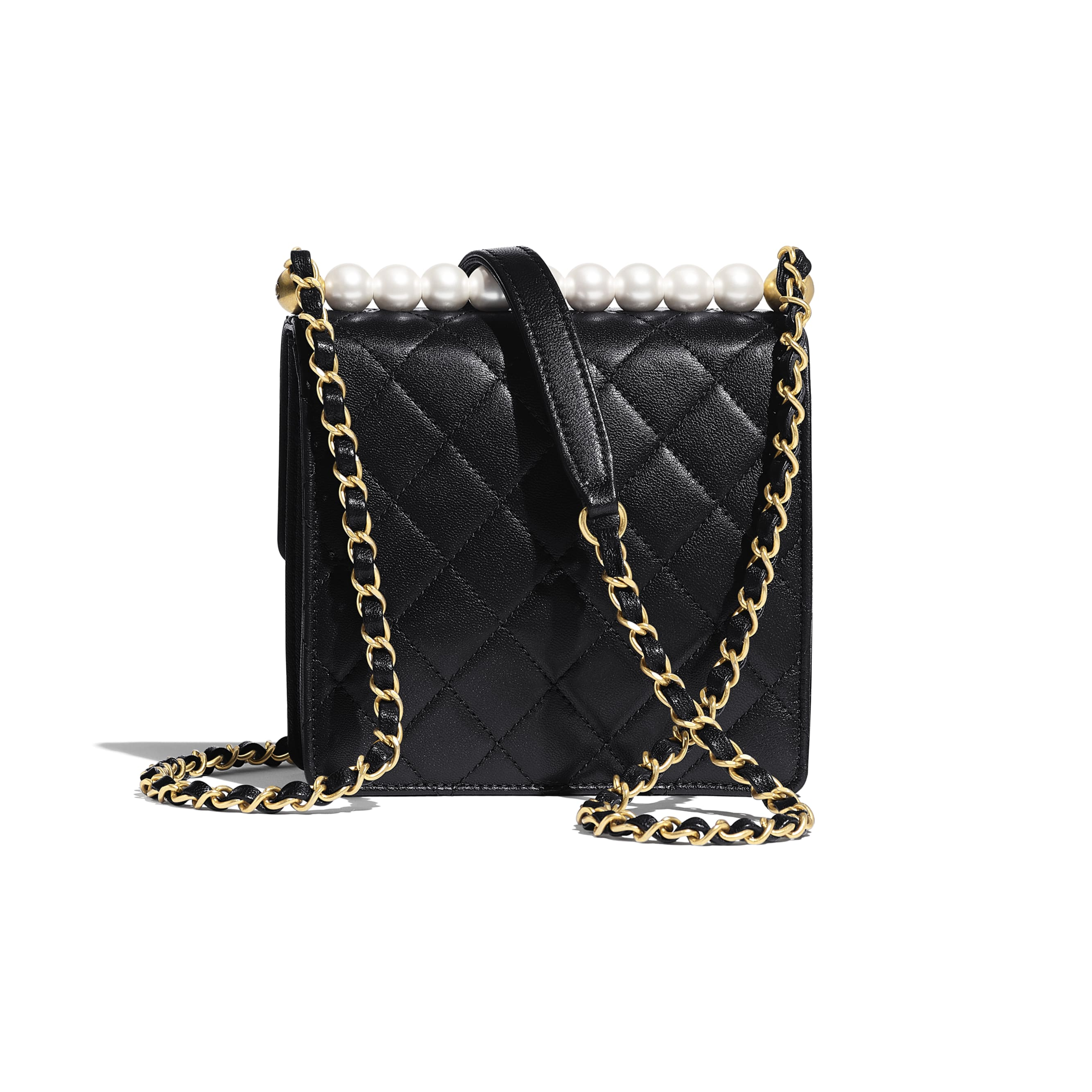 Flap Bag - Black - Goatskin, Imitation Pearls & Gold-Tone Metal - CHANEL - Alternative view - see standard sized version