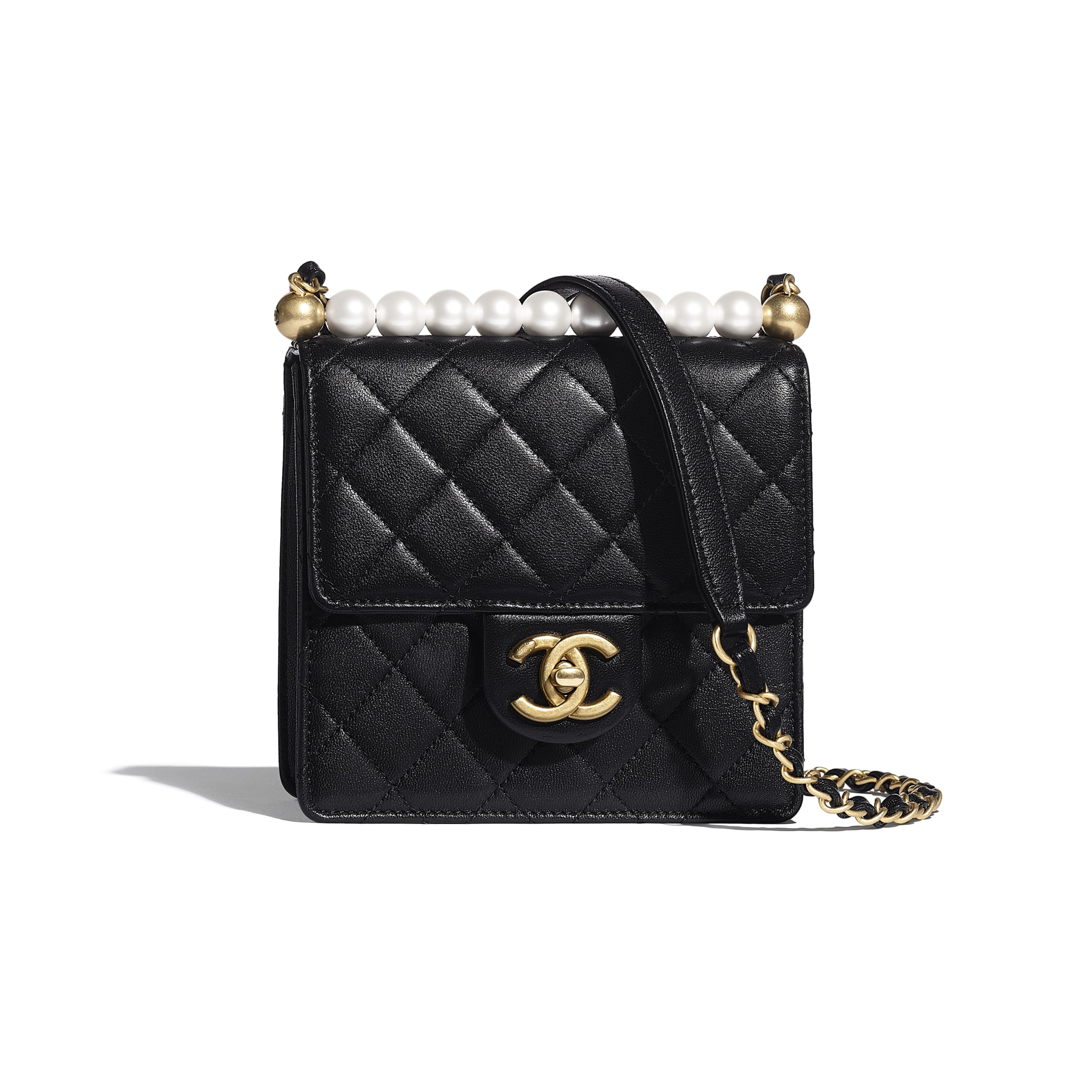 Flap Bag - Black - Goatskin, Imitation Pearls & Gold-Tone Metal - Default view - see standard sized version