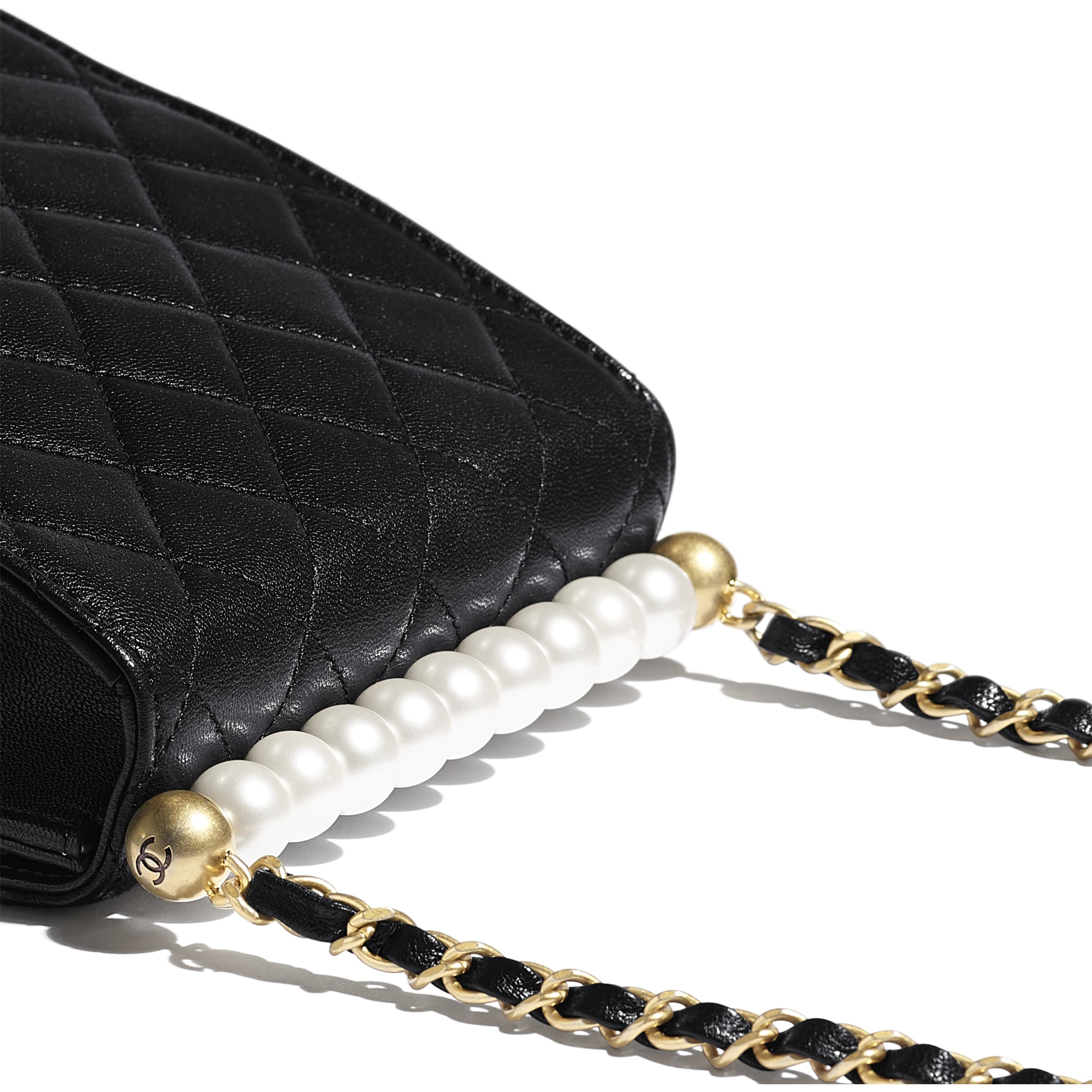 Flap Bag - Black - Goatskin, Imitation Pearls & Gold-Tone Metal - Extra view - see standard sized version