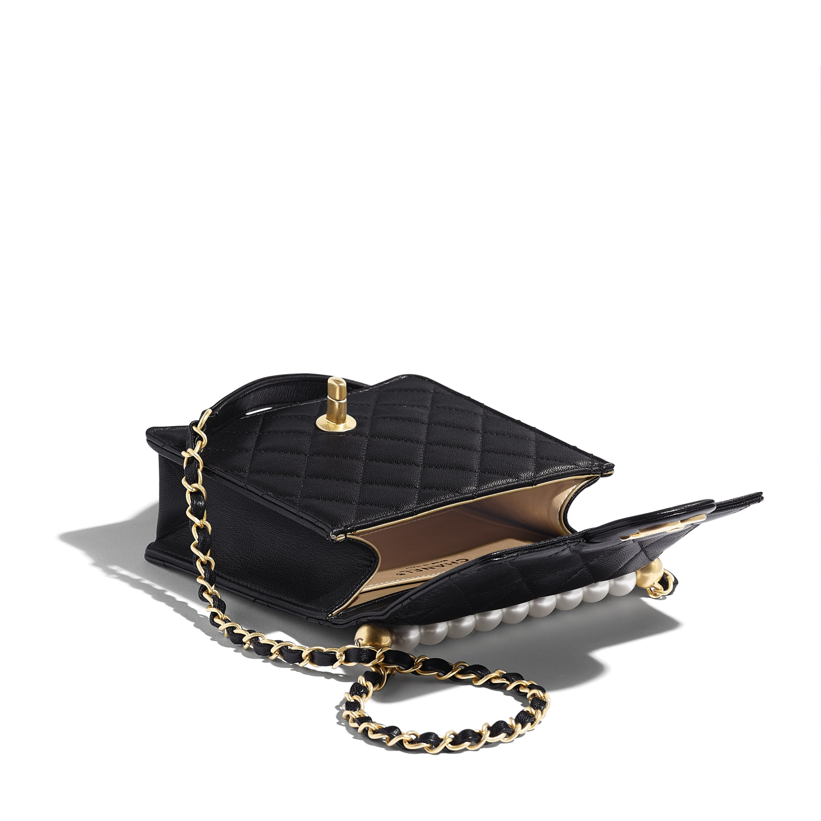 Flap Bag - Black - Goatskin, Imitation Pearls & Gold-Tone Metal - Other view - see standard sized version