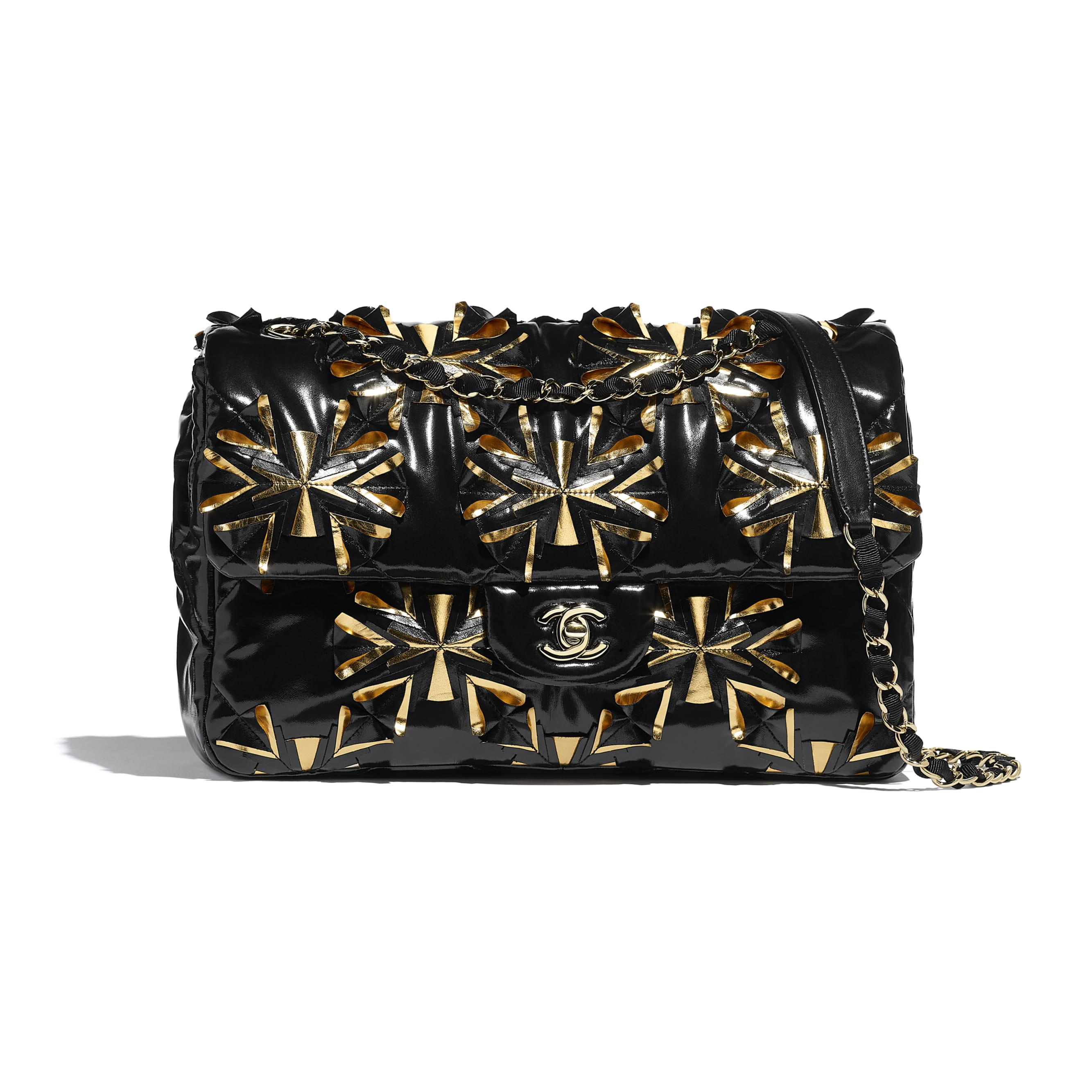 Flap Bag - Black & Gold - Embroidered Vinyl & Gold-Tone Metal - Default view - see standard sized version