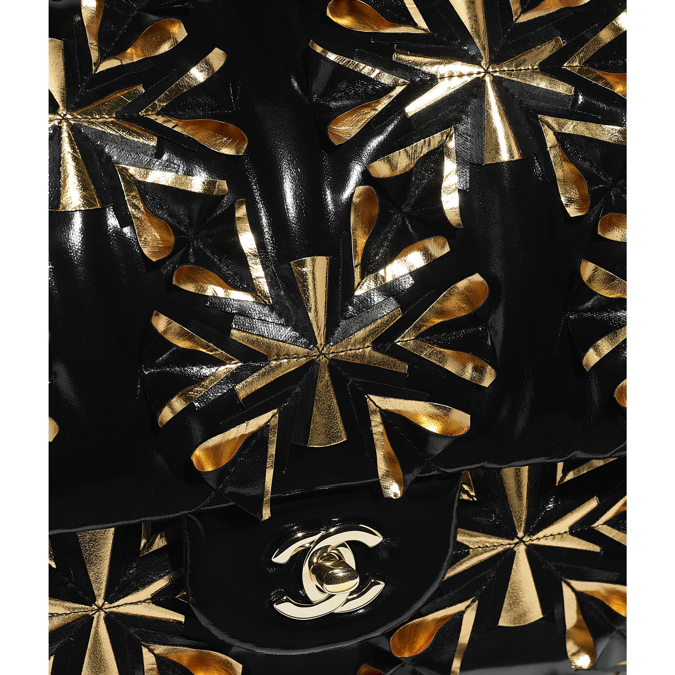 Flap Bag - Black & Gold - Embroidered Vinyl & Gold-Tone Metal - Extra view - see standard sized version