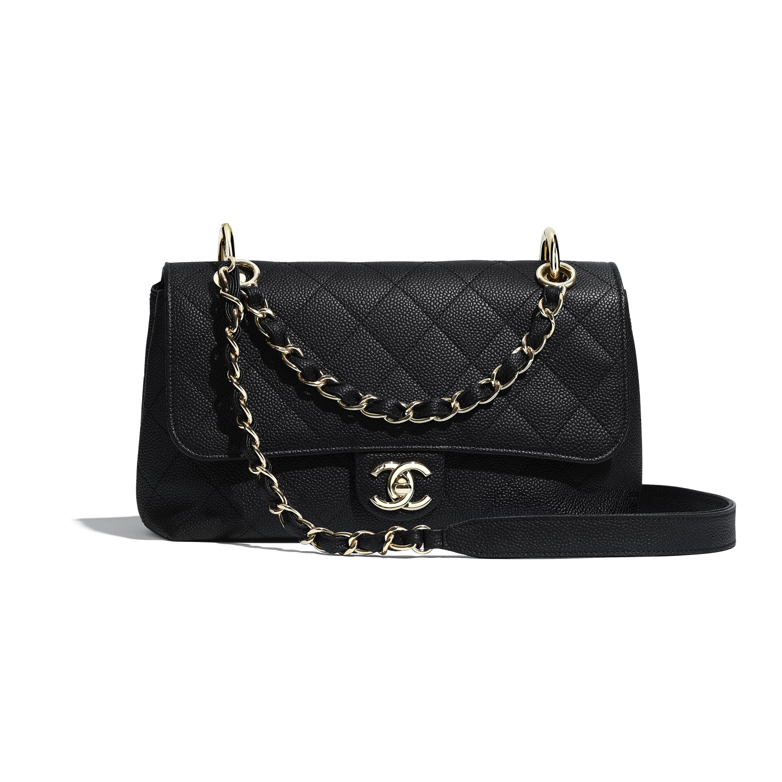 Flap Bag - Black - Grained Calfskin & Gold-Tone Metal - Default view - see standard sized version
