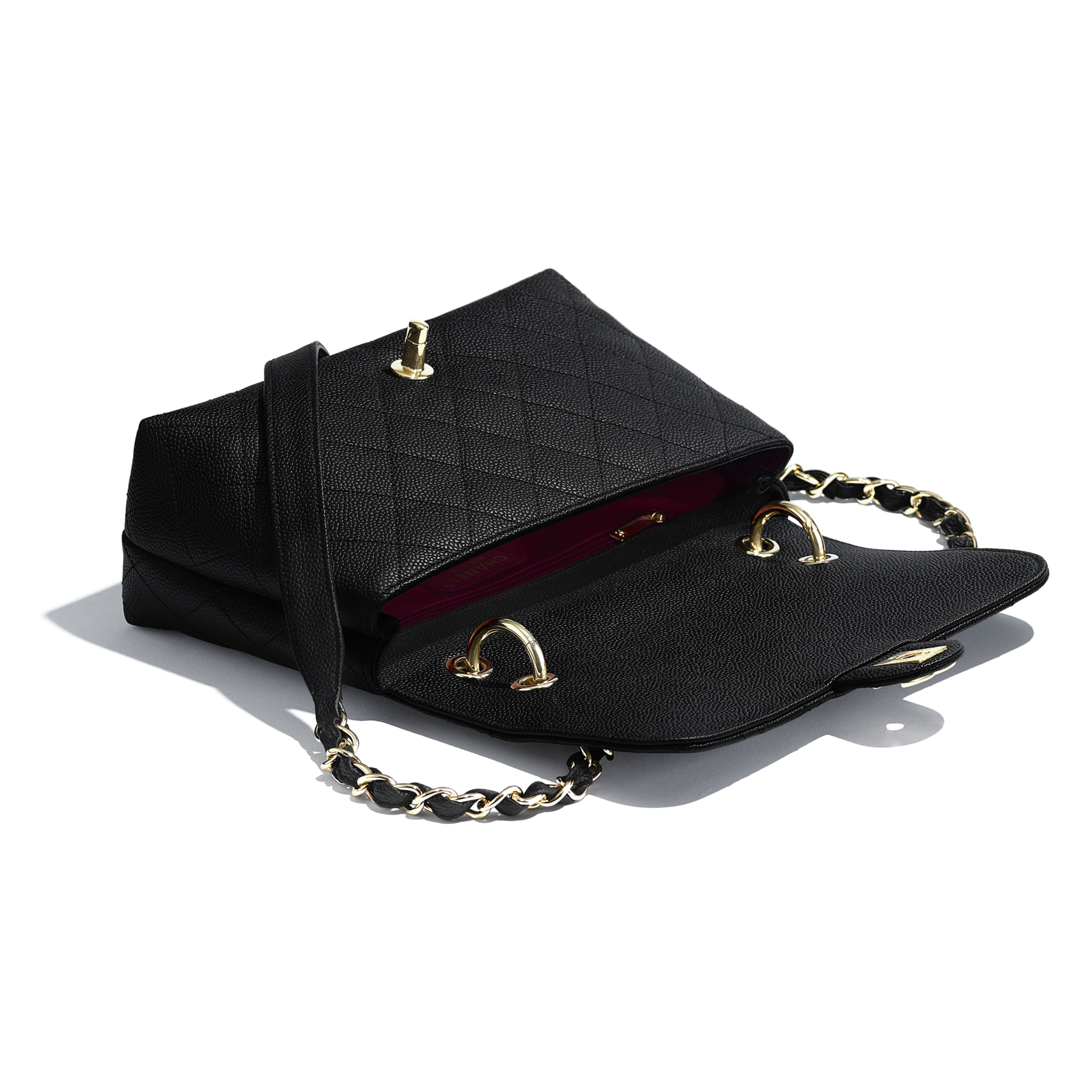 Flap Bag - Black - Grained Calfskin & Gold-Tone Metal - Other view - see standard sized version