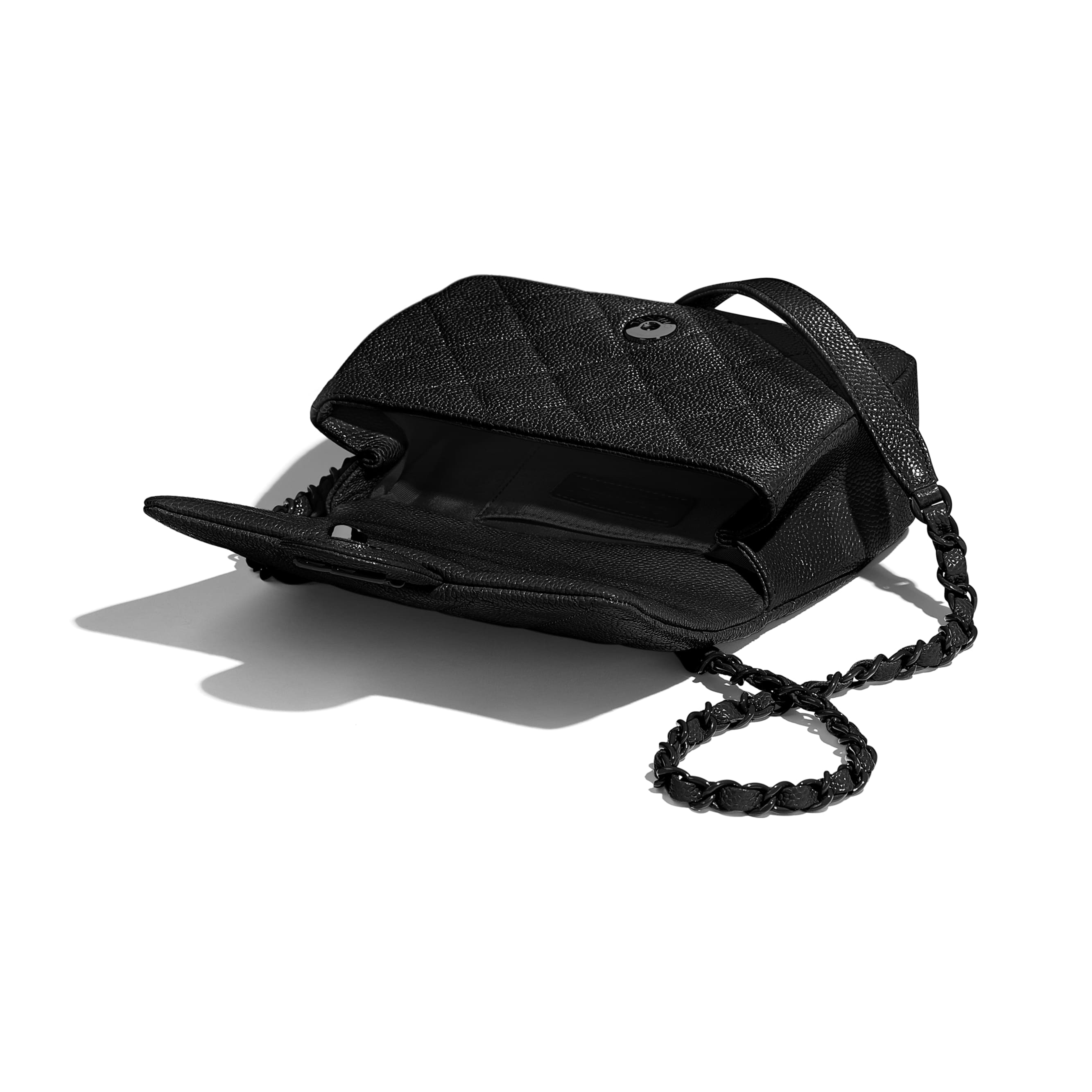 Flap Bag - Black - Grained Calfskin & Lacquered Metal - Other view - see standard sized version