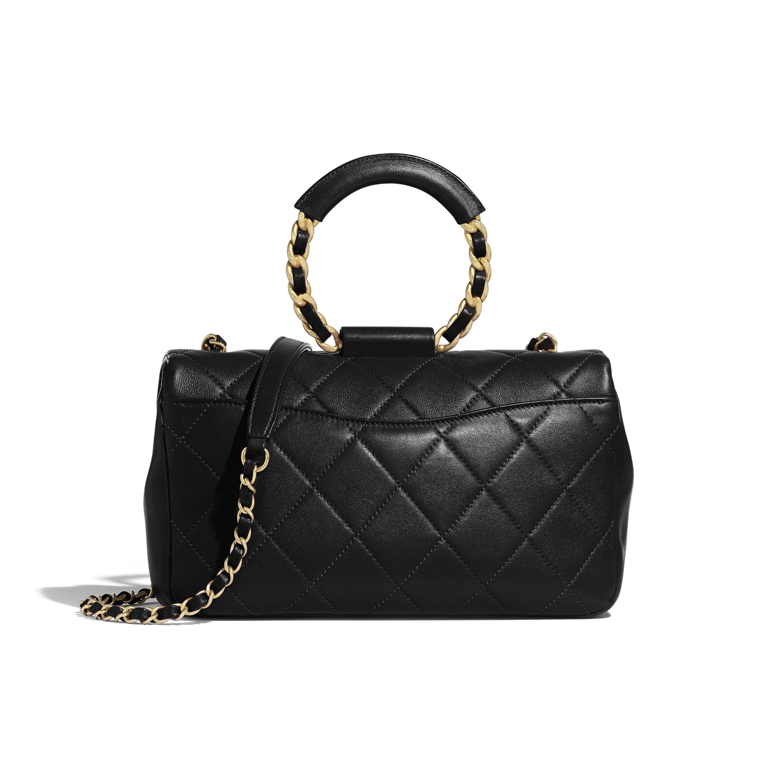 Flap Bag - Black - Lambskin & Gold Metal  - CHANEL - Alternative view - see standard sized version