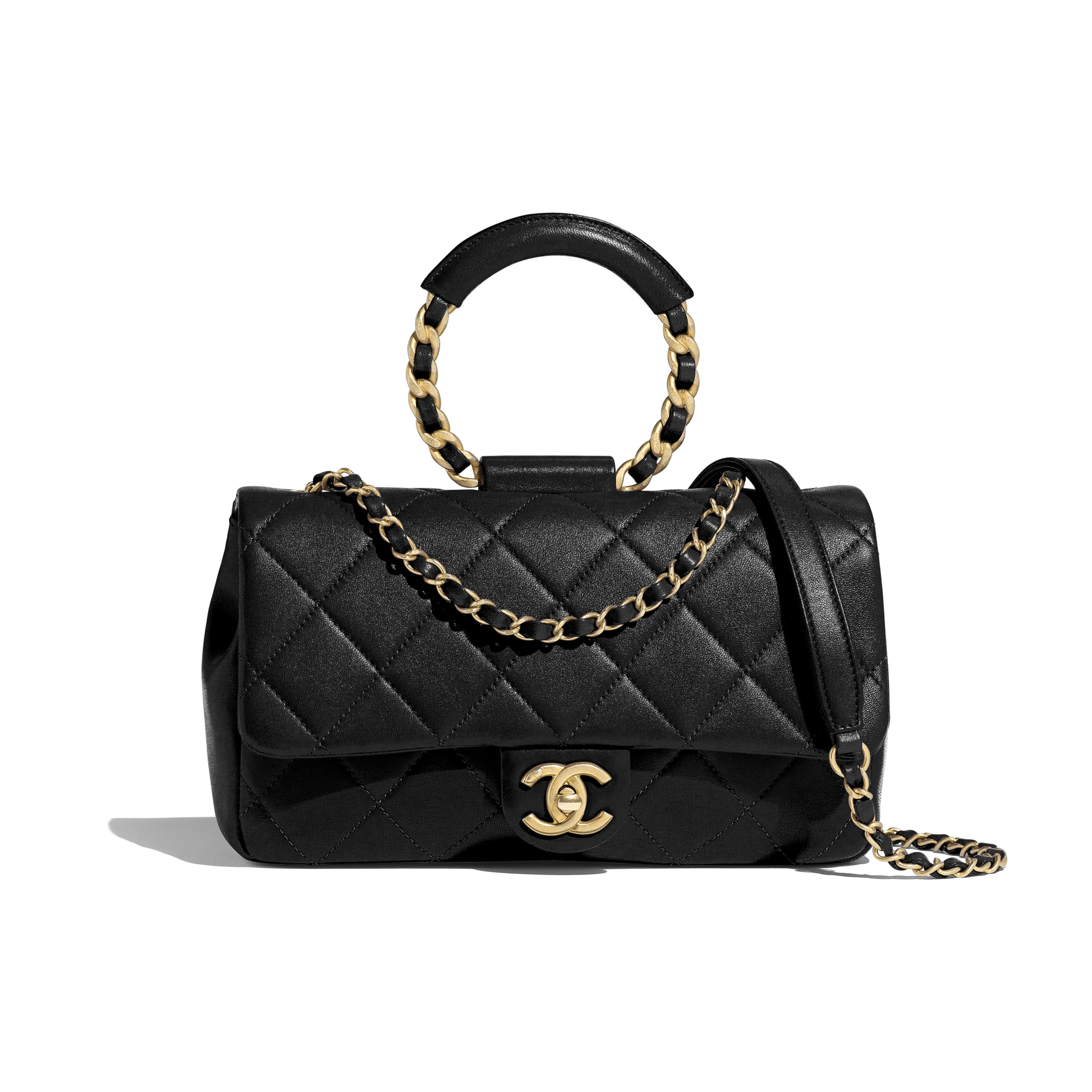Flap Bag - Black - Lambskin & Gold Metal  - CHANEL - Default view - see standard sized version