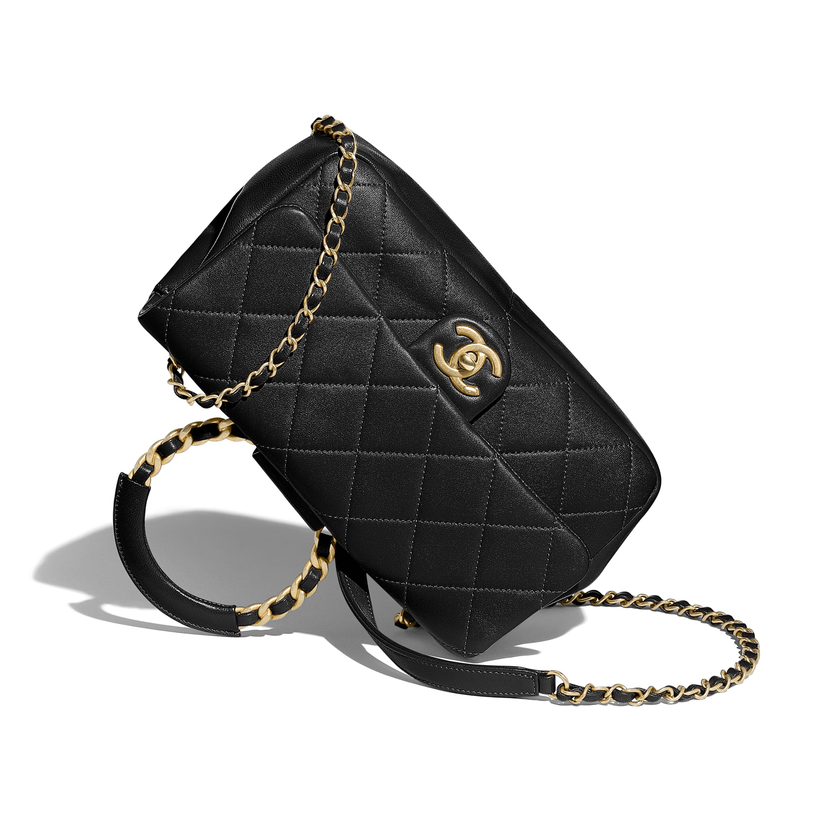 Flap Bag - Black - Lambskin & Gold Metal  - CHANEL - Extra view - see standard sized version