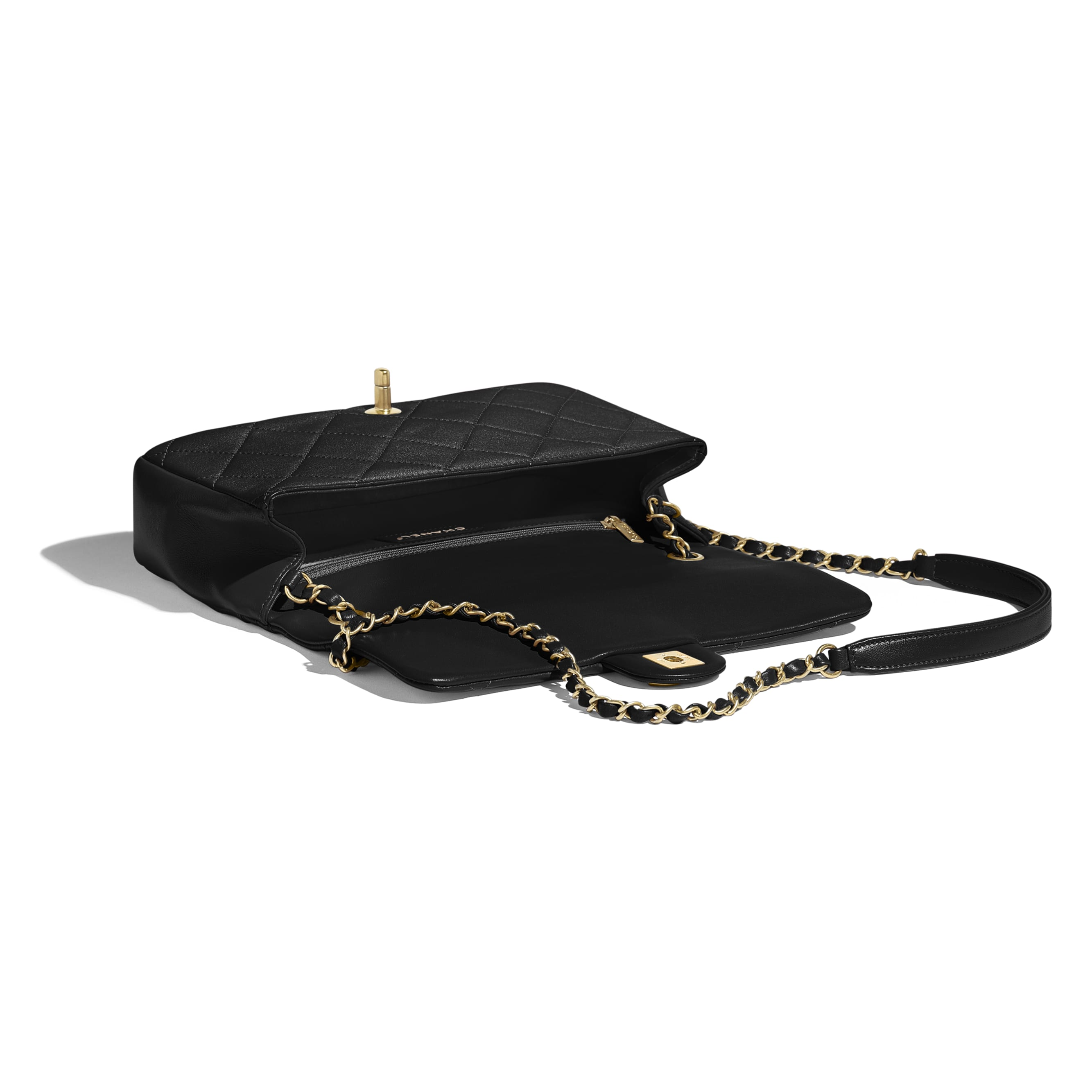 Flap Bag - Black - Lambskin & Gold Metal  - CHANEL - Other view - see standard sized version