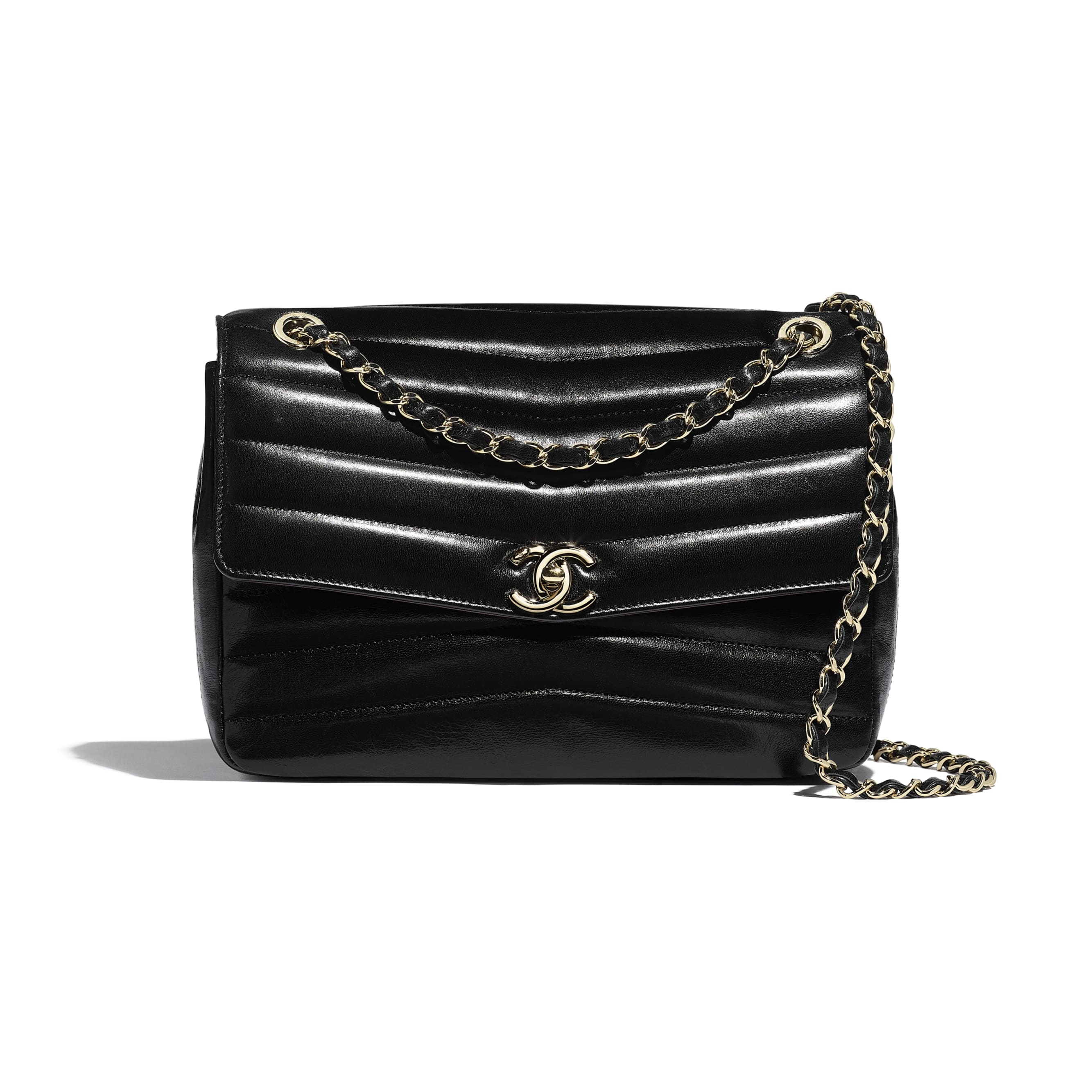 Flap Bag - Black - Lambskin & Gold-Tone Metal - Default view - see standard sized version