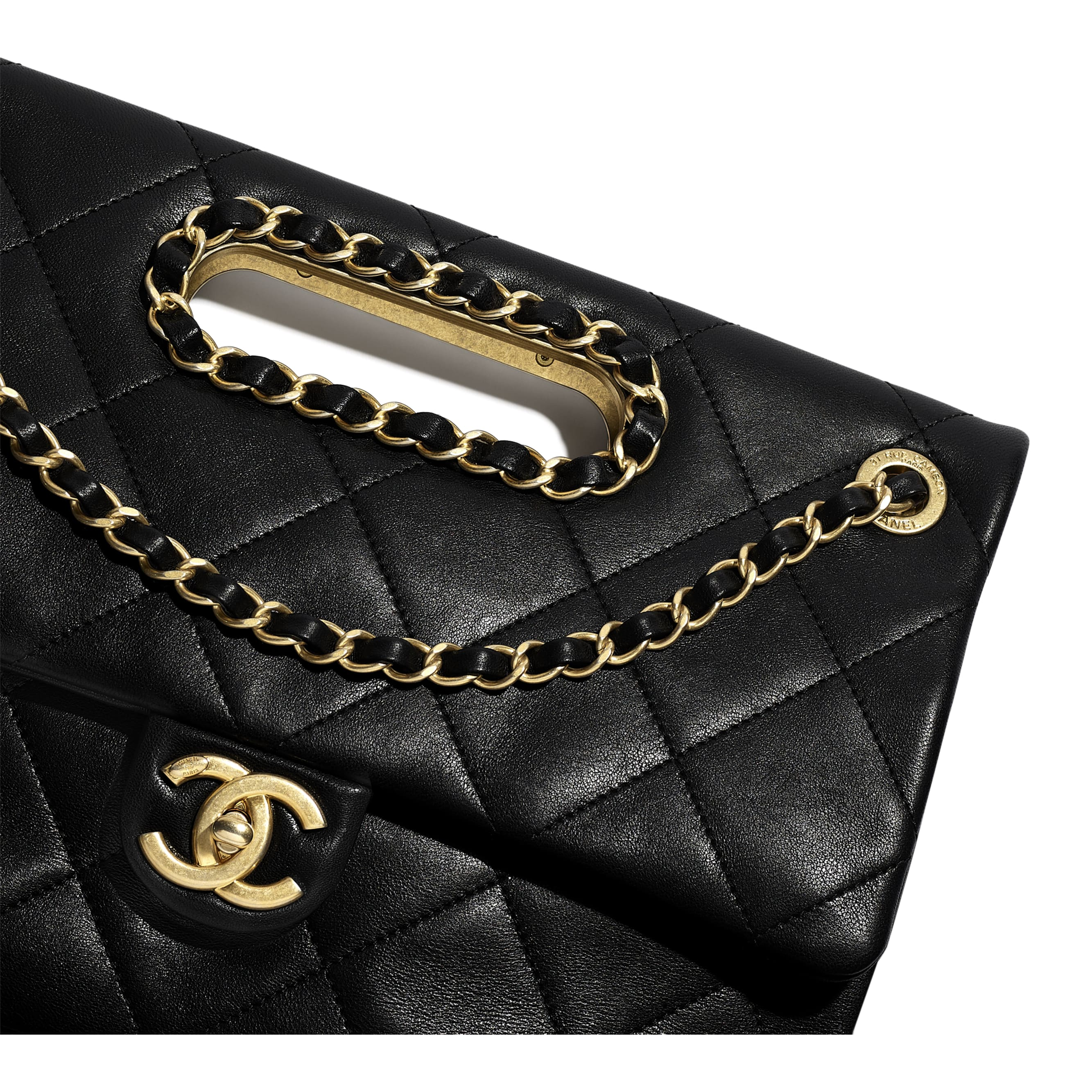Flap Bag - Black - Lambskin & Gold-Tone Metal - CHANEL - Extra view - see standard sized version
