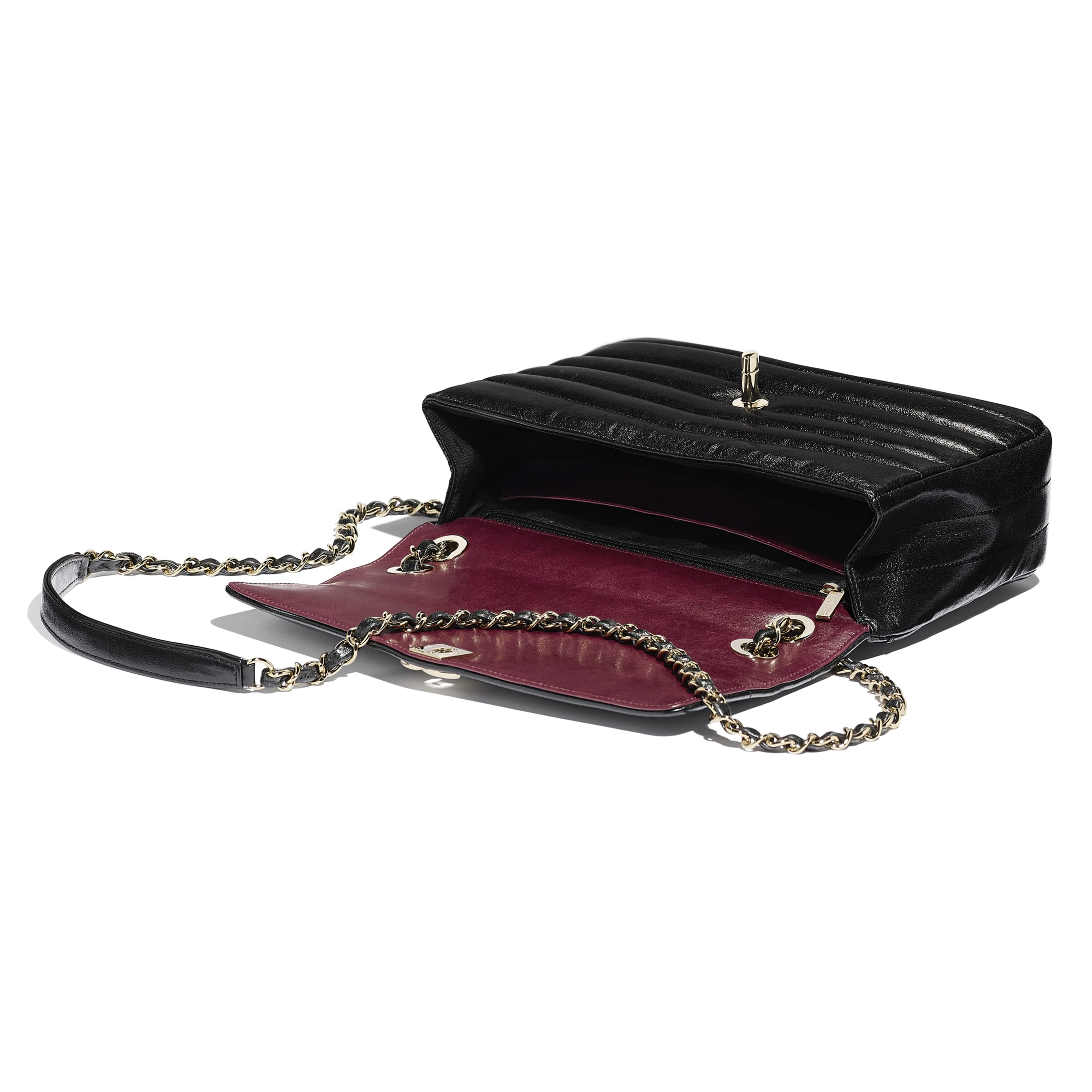 Flap Bag - Black - Lambskin & Gold-Tone Metal - Other view - see standard sized version
