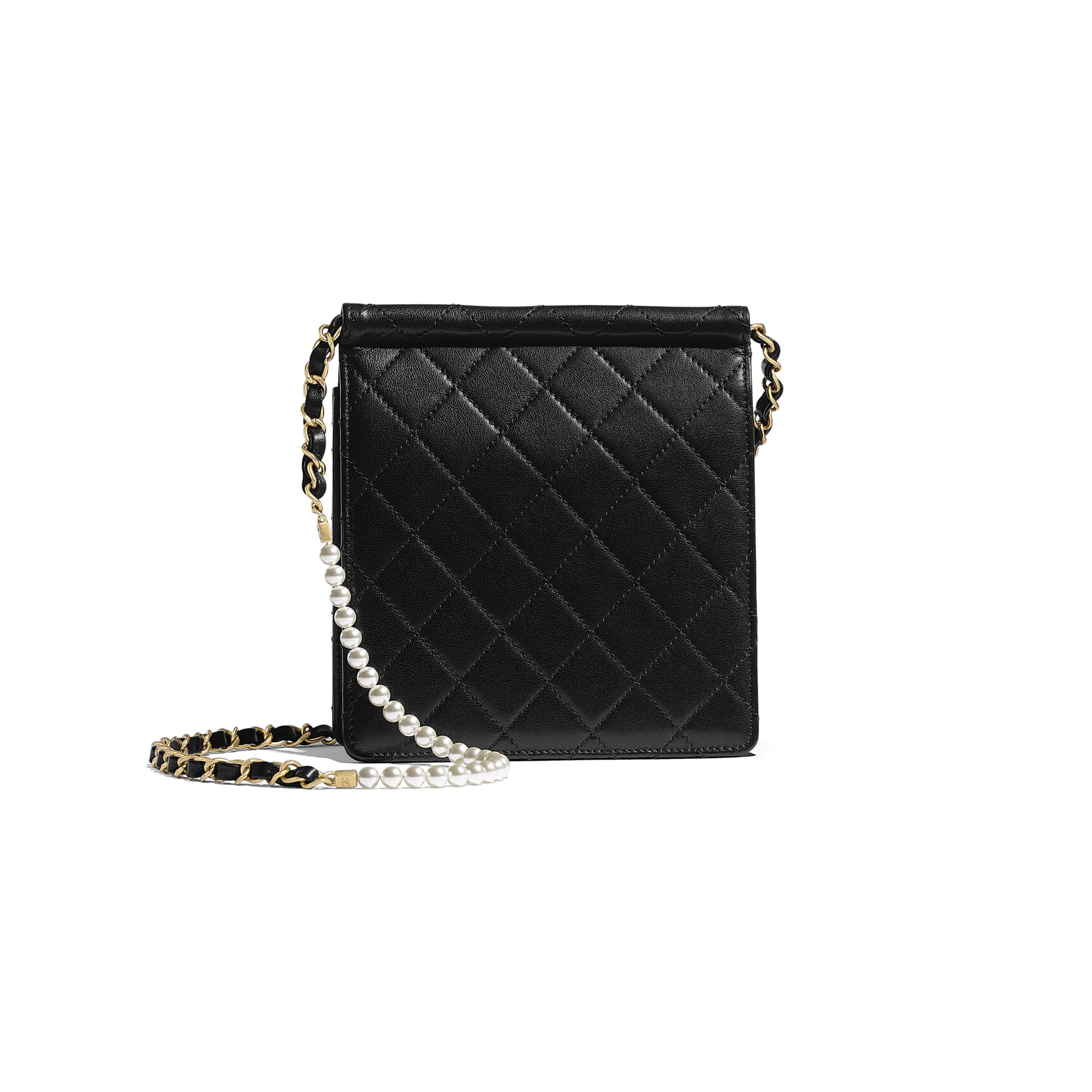 Flap Bag - Black - Lambskin, Imitation Pearls & Gold-Tone Metal - Alternative view - see standard sized version