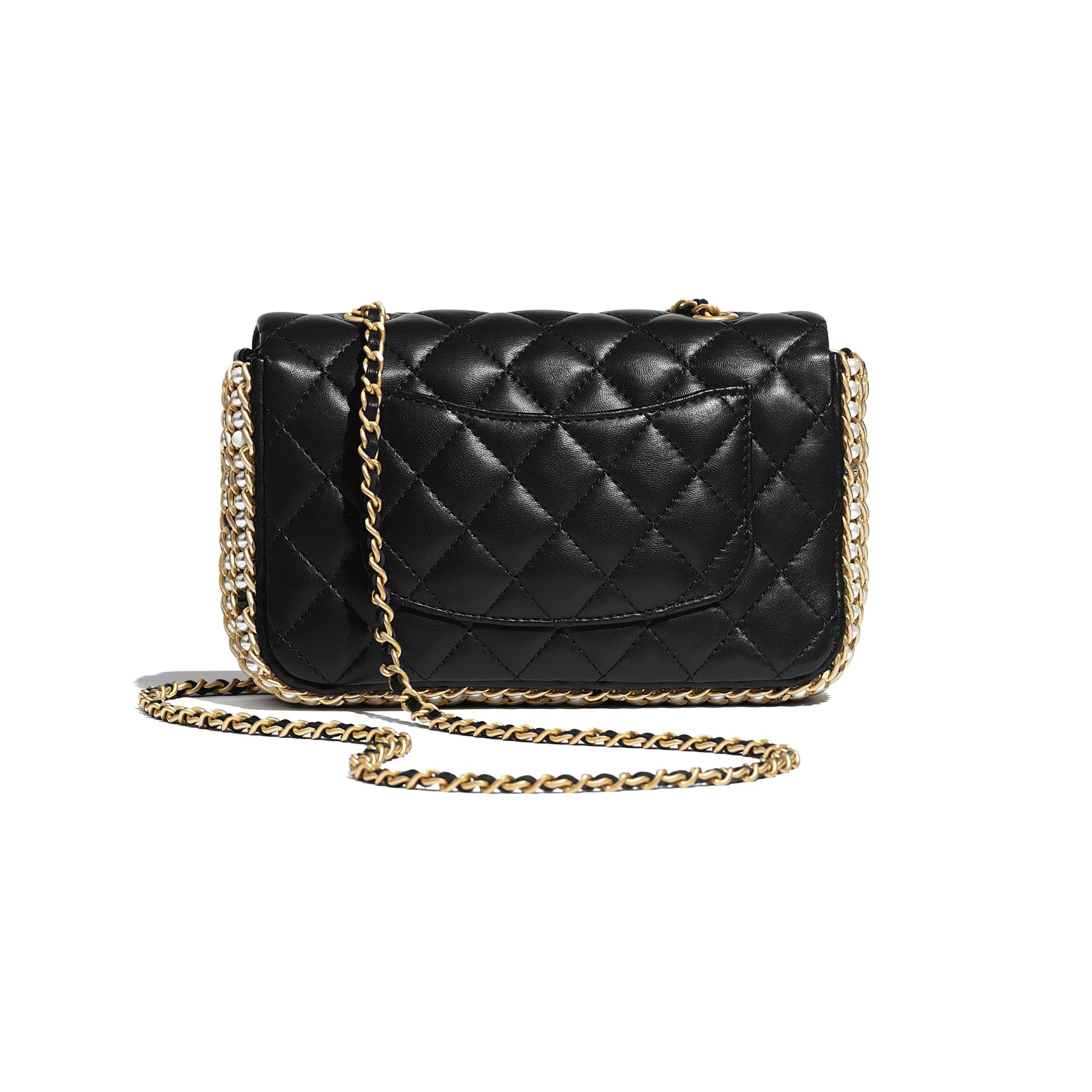 Flap Bag - Black - Lambskin, Imitation Pearls & Gold Metal - Alternative view - see standard sized version