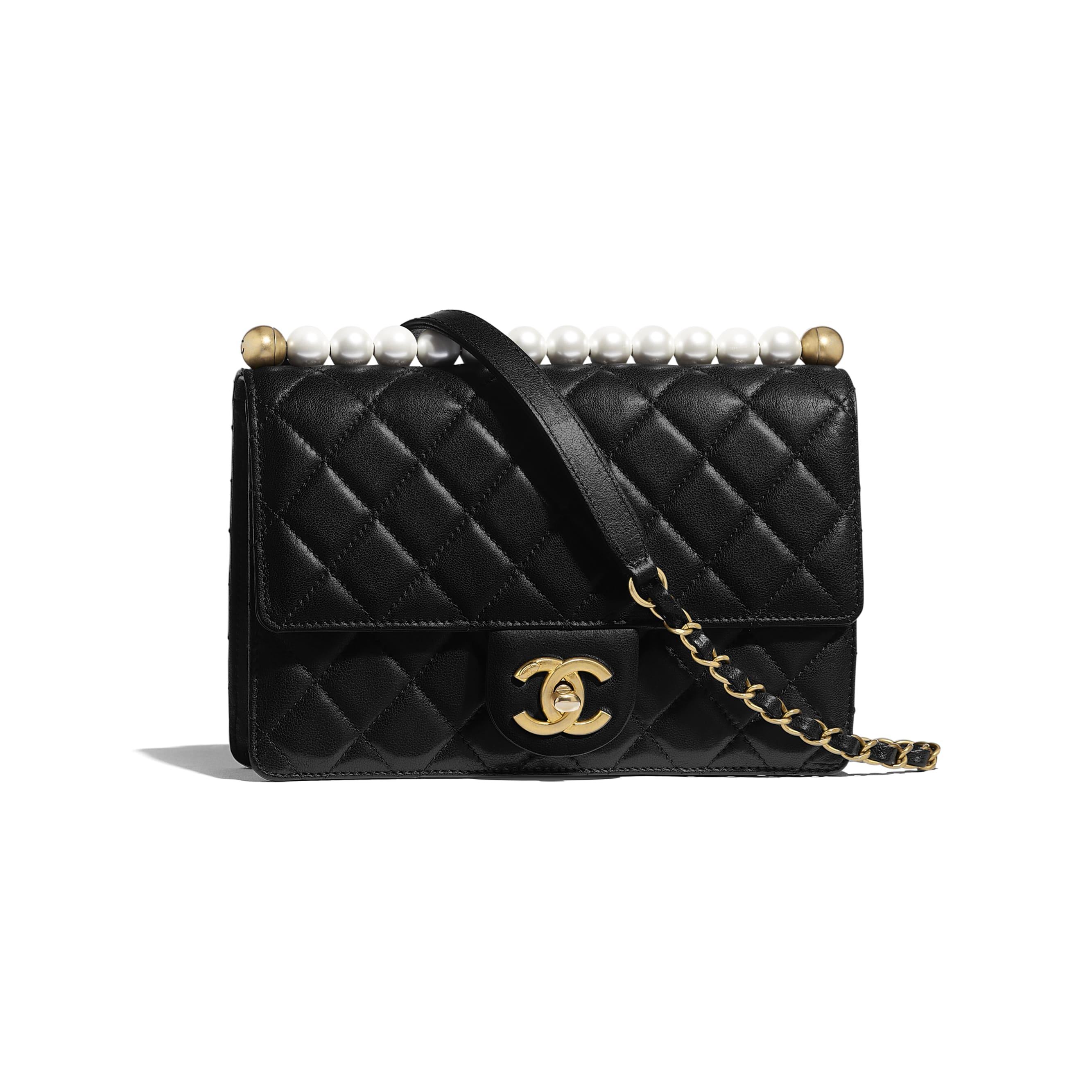 Flap Bag - Black - Lambskin, Imitation Pearls & Gold-Tone Metal - Default view - see standard sized version