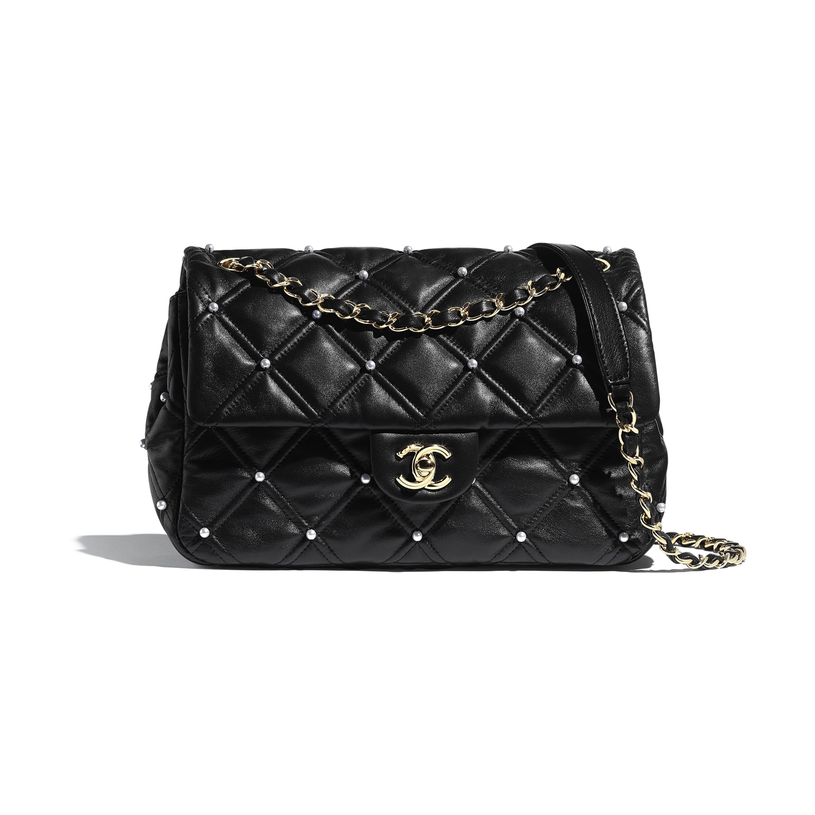 Flap Bag - Black - Lambskin, Imitation Pearls & Gold Metal - Default view - see standard sized version