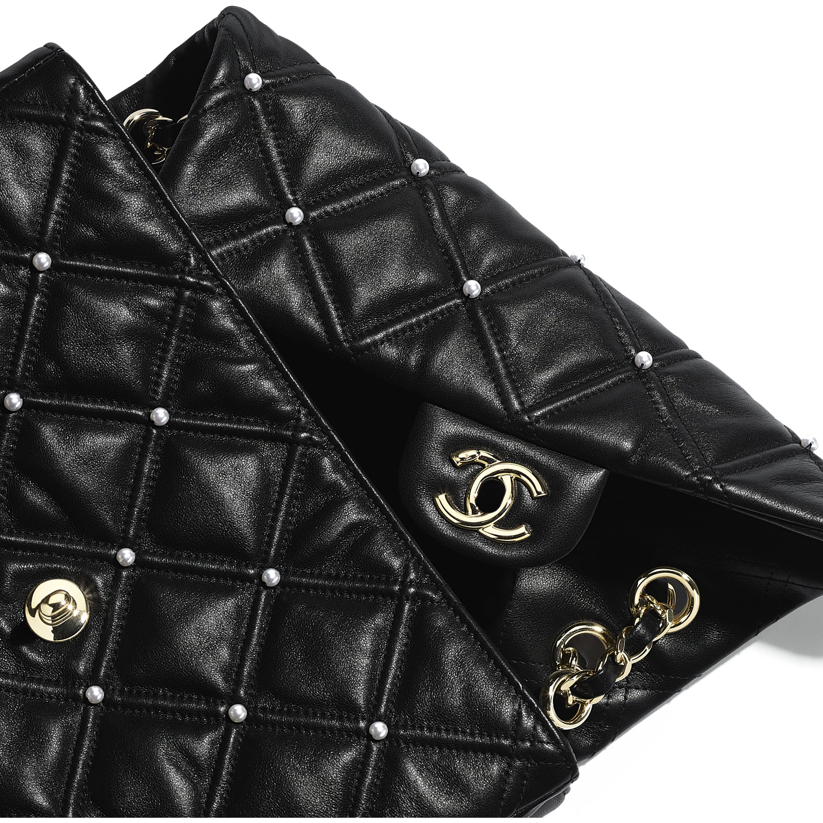 Flap Bag - Black - Lambskin, Imitation Pearls & Gold Metal - Extra view - see standard sized version